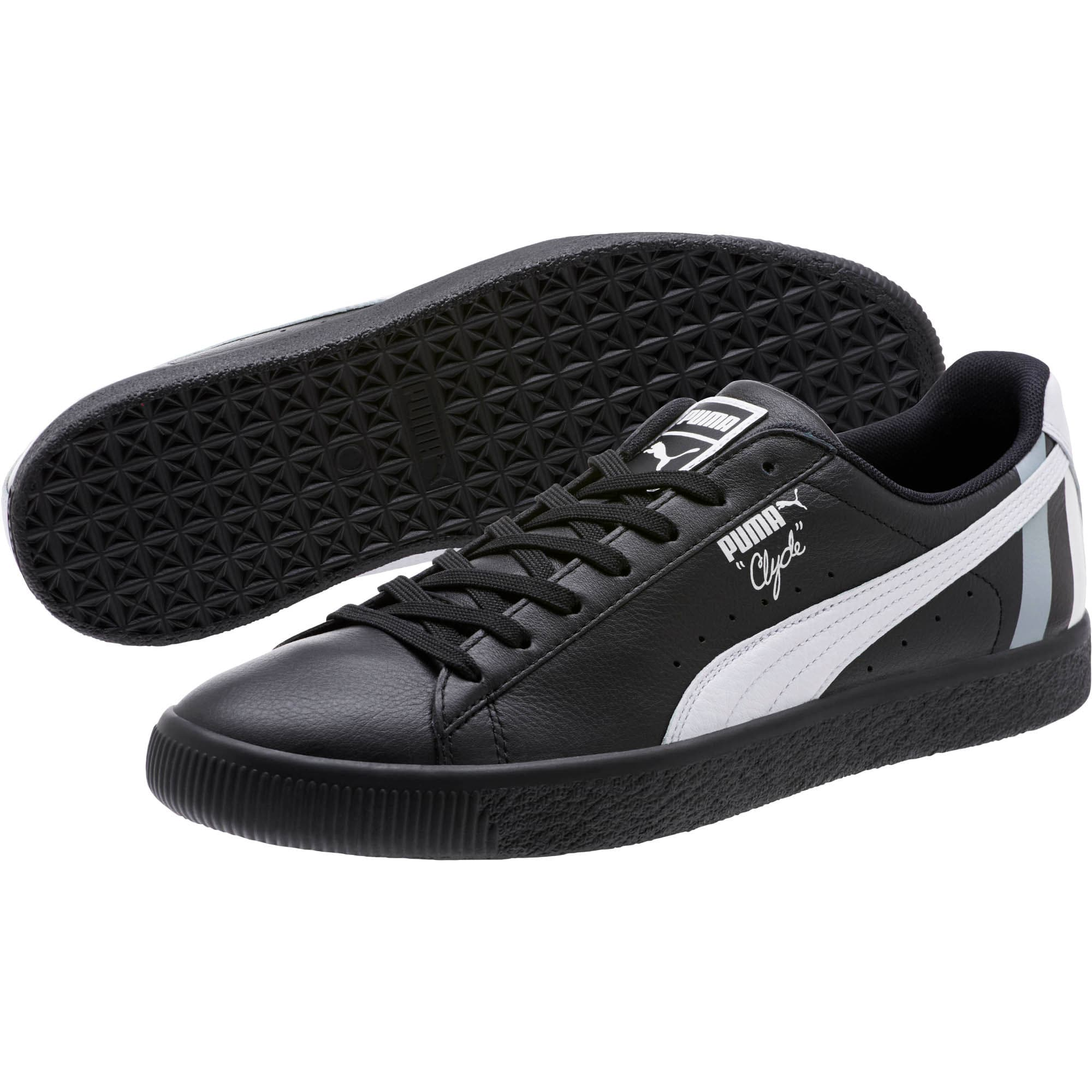 Thumbnail 2 of Clyde Stripes Men's Sneakers, Puma Black-Puma White, medium
