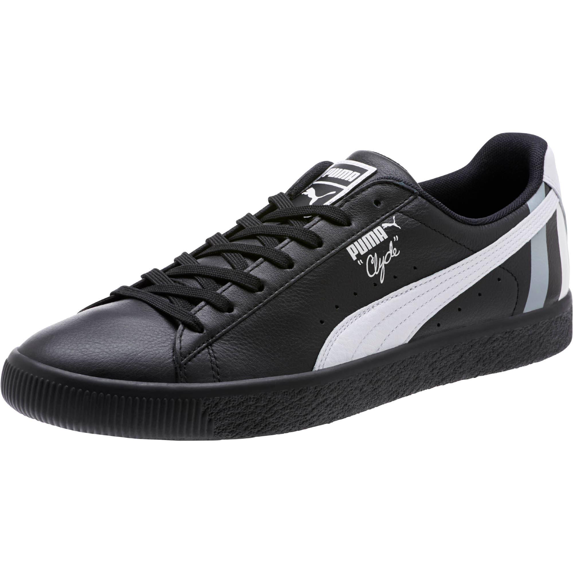 Thumbnail 1 of Clyde Stripes Men's Sneakers, Puma Black-Puma White, medium