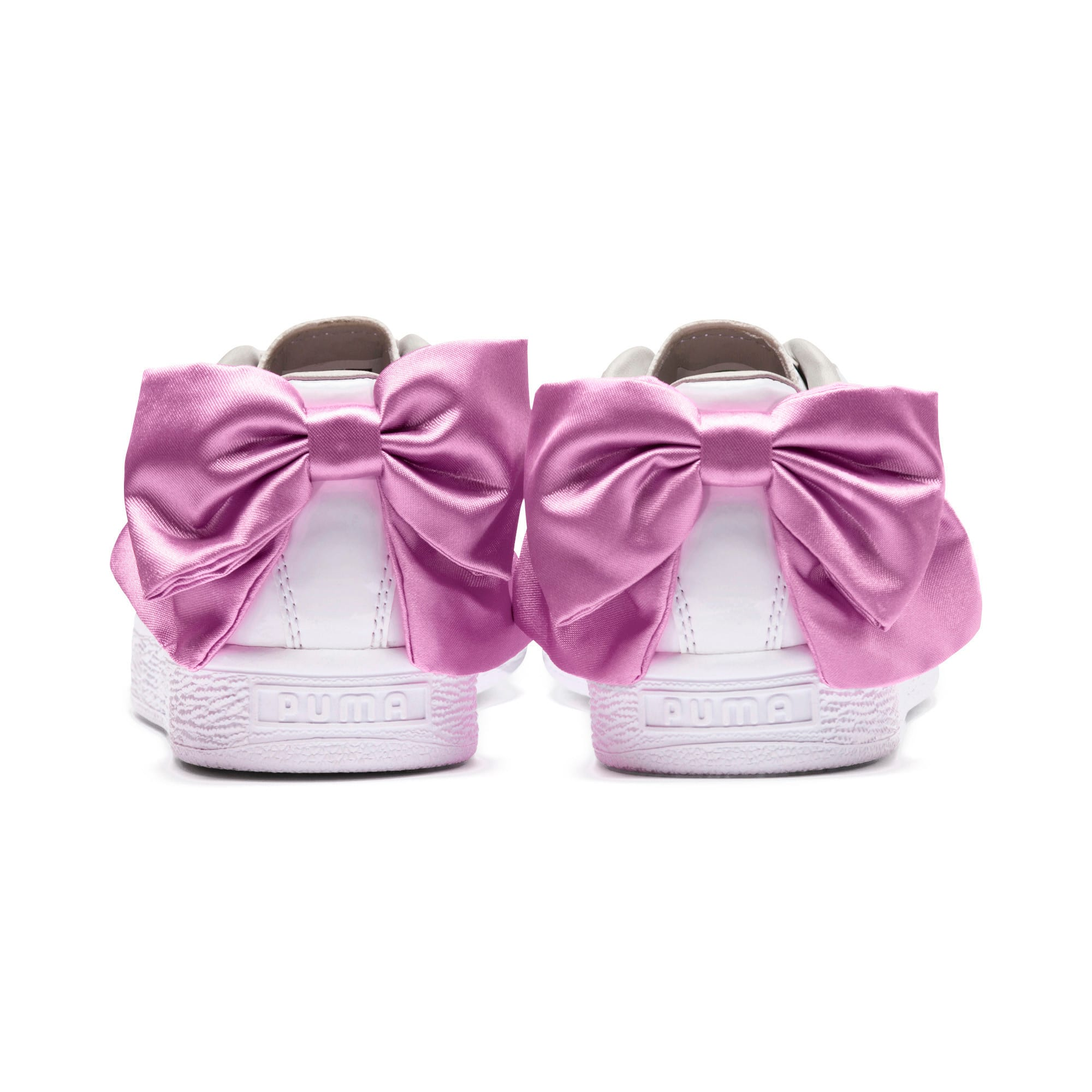 Thumbnail 3 of Basket Bow Patent Kids' Trainers, Puma White-Orchid-Gray, medium-IND