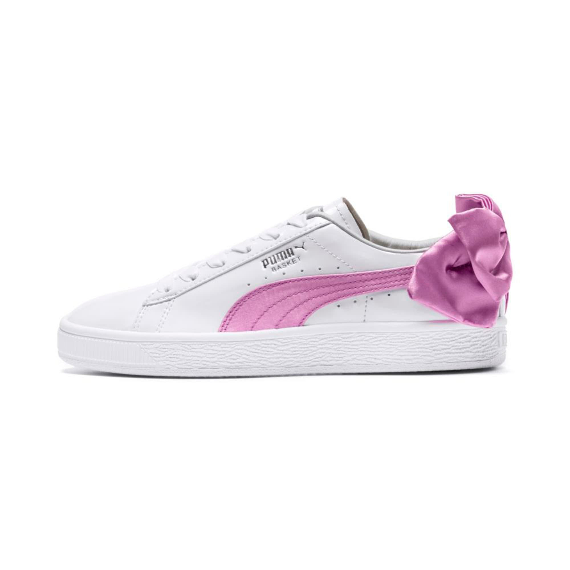 Thumbnail 1 of Basket Bow Patent Kids' Trainers, Puma White-Orchid-Gray, medium-IND