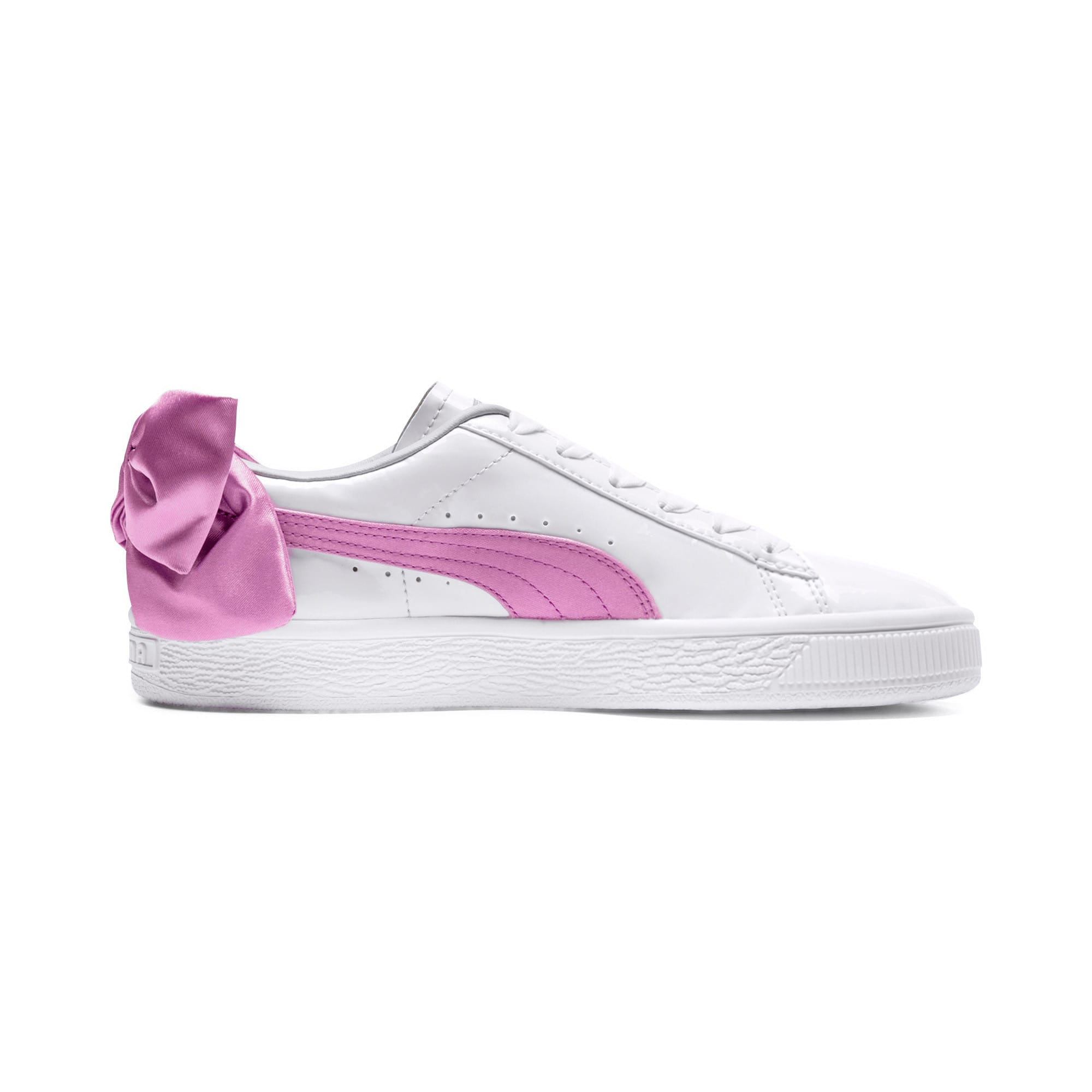 Thumbnail 5 of Basket Bow Patent Kids' Trainers, Puma White-Orchid-Gray, medium-IND