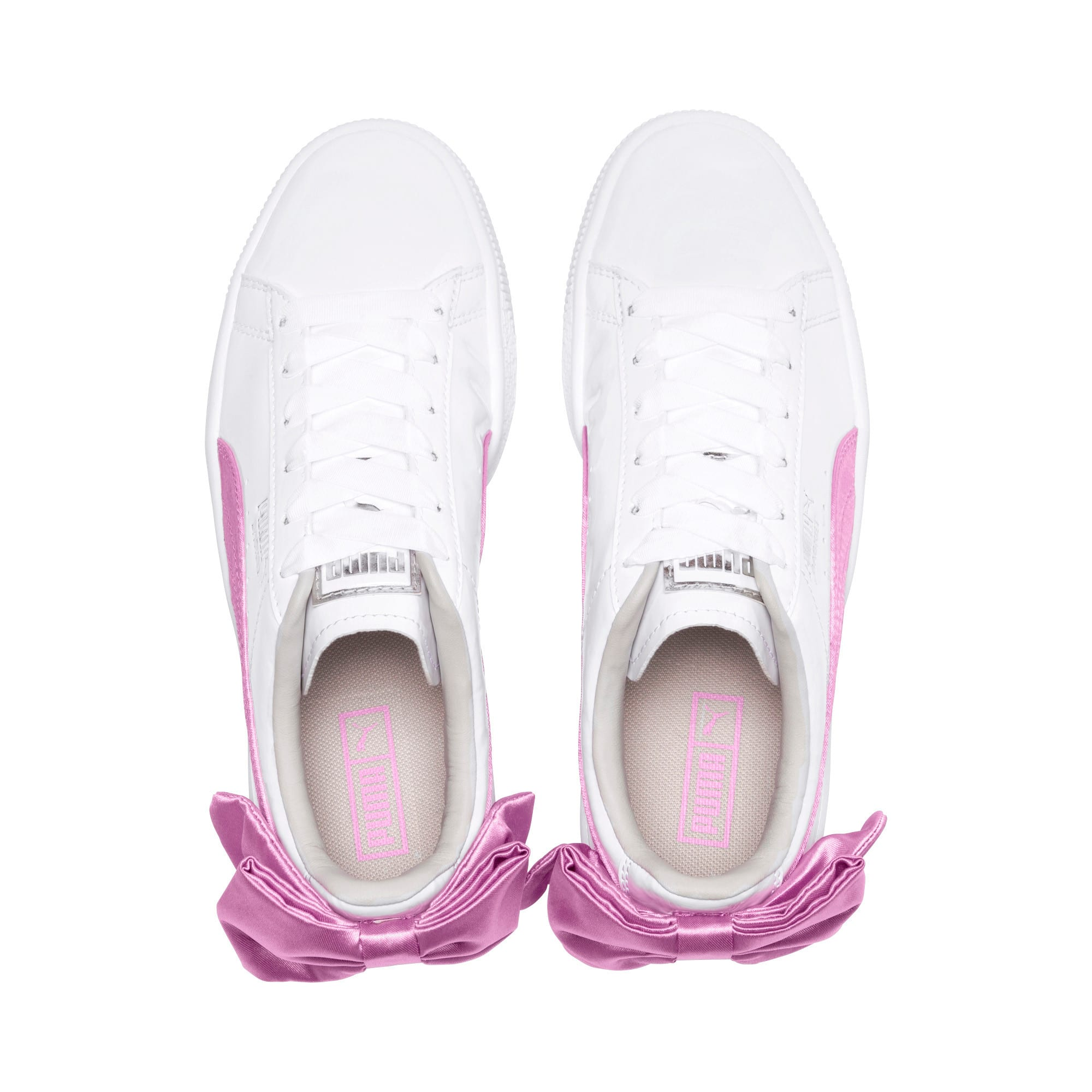 Thumbnail 6 of Basket Bow Patent Kids' Trainers, Puma White-Orchid-Gray, medium-IND