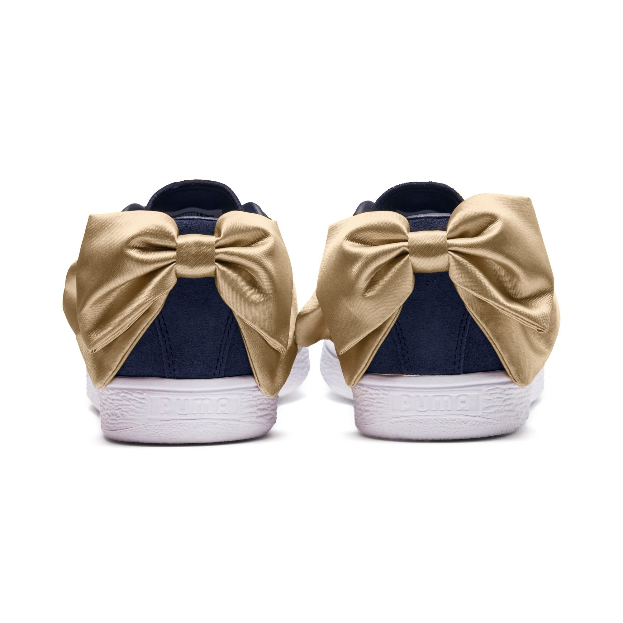Thumbnail 3 of Suede Bow Varsity Women's Trainers, Peacoat-Metallic Gold, medium-IND