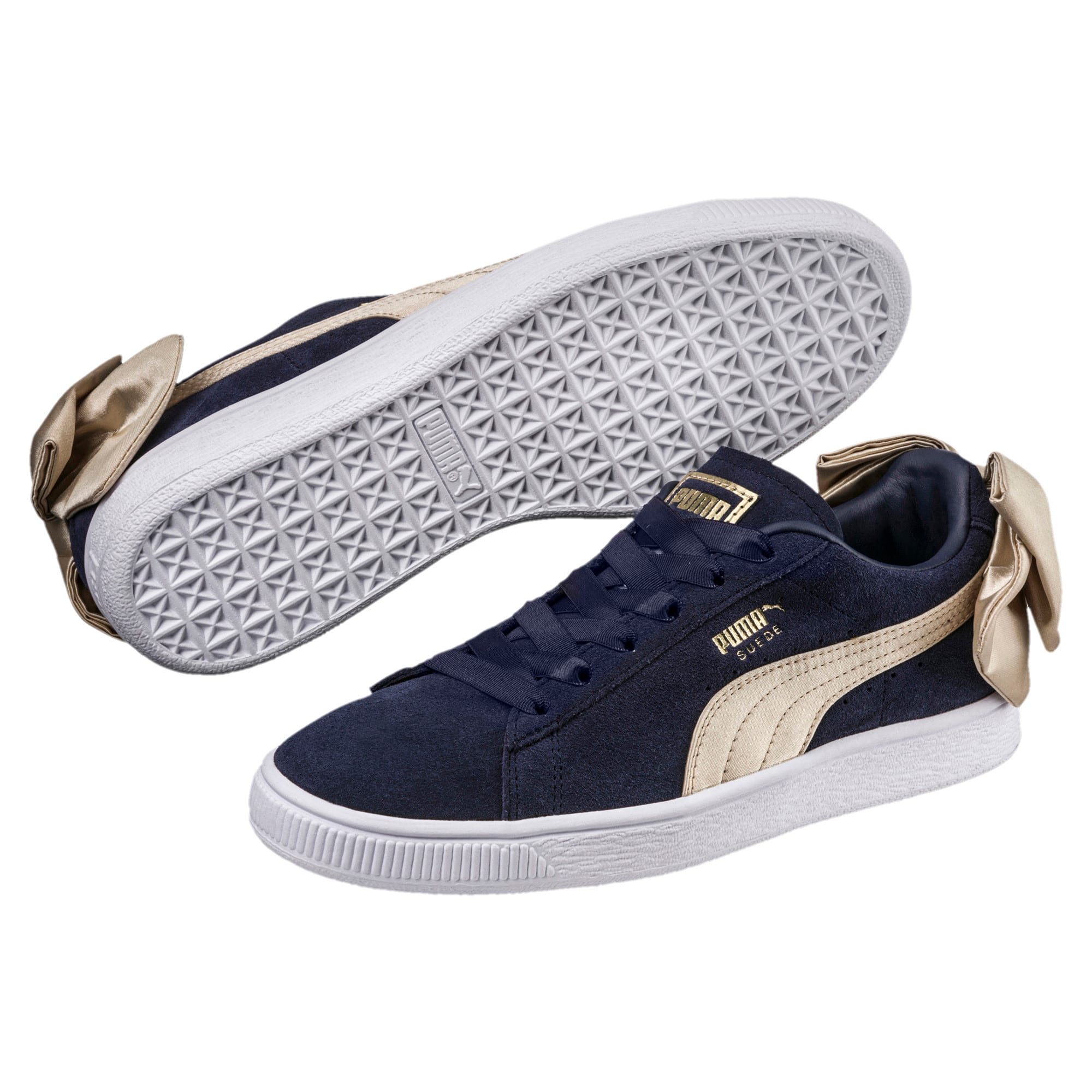 Thumbnail 2 of Suede Bow Varsity Women's Trainers, Peacoat-Metallic Gold, medium-IND