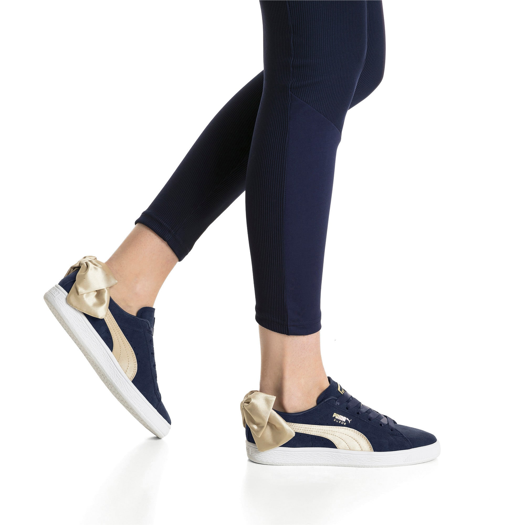 Thumbnail 7 of Suede Bow Varsity Women's Trainers, Peacoat-Metallic Gold, medium-IND