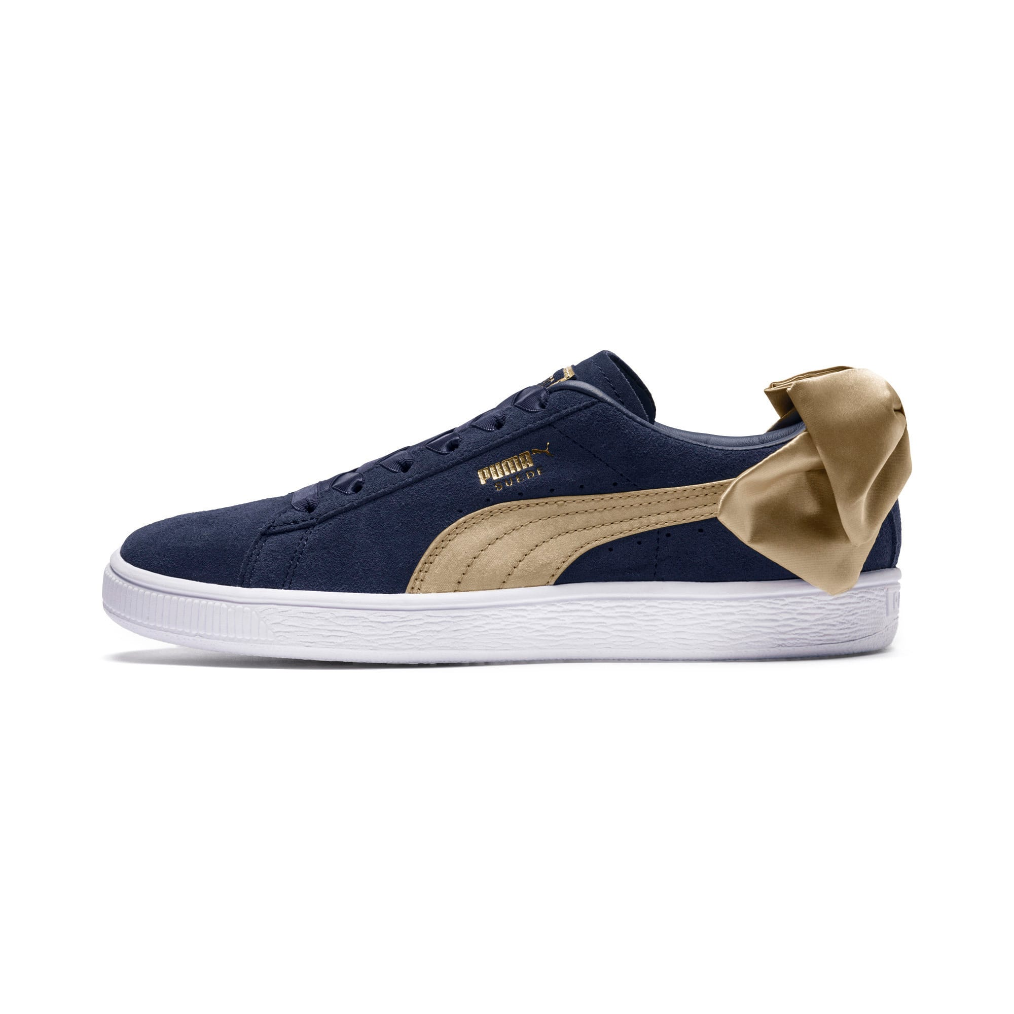 Thumbnail 1 of Suede Bow Varsity Women's Trainers, Peacoat-Metallic Gold, medium-IND