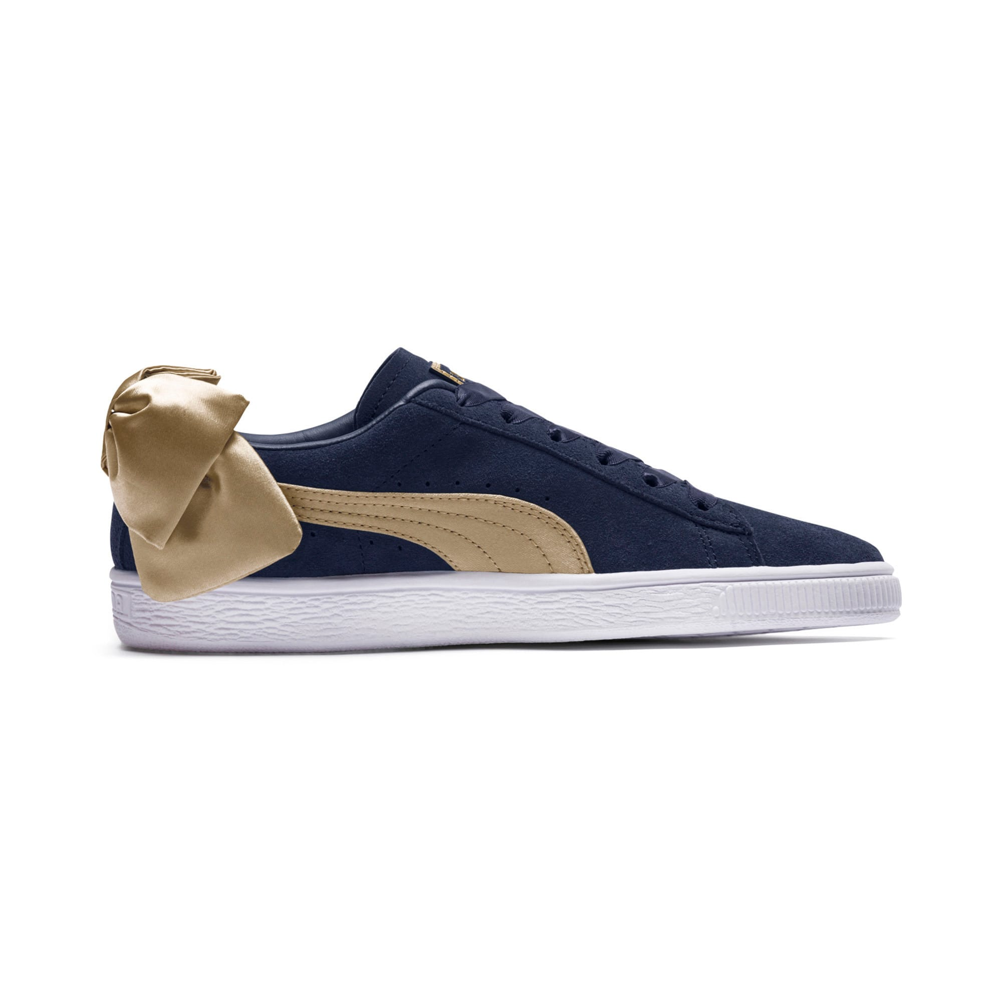 Thumbnail 5 of Suede Bow Varsity Women's Trainers, Peacoat-Metallic Gold, medium-IND