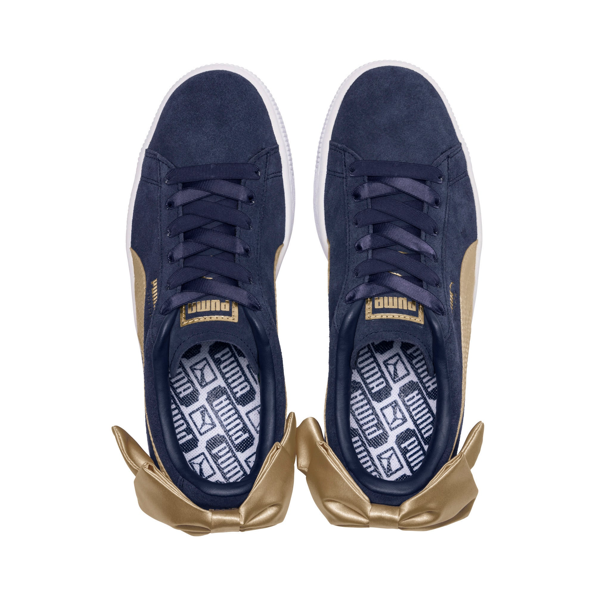 Thumbnail 6 of Suede Bow Varsity Women's Trainers, Peacoat-Metallic Gold, medium-IND