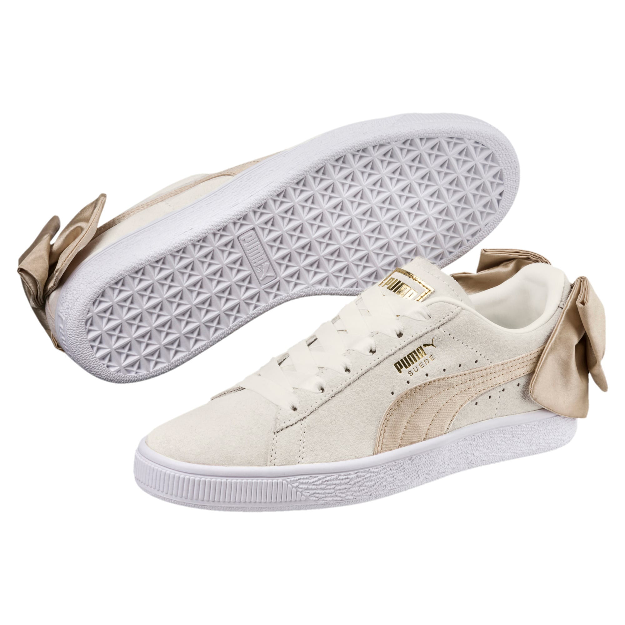 Thumbnail 2 of Suede Bow Varsity Women's Trainers, Marshmallow-Metallic Gold, medium