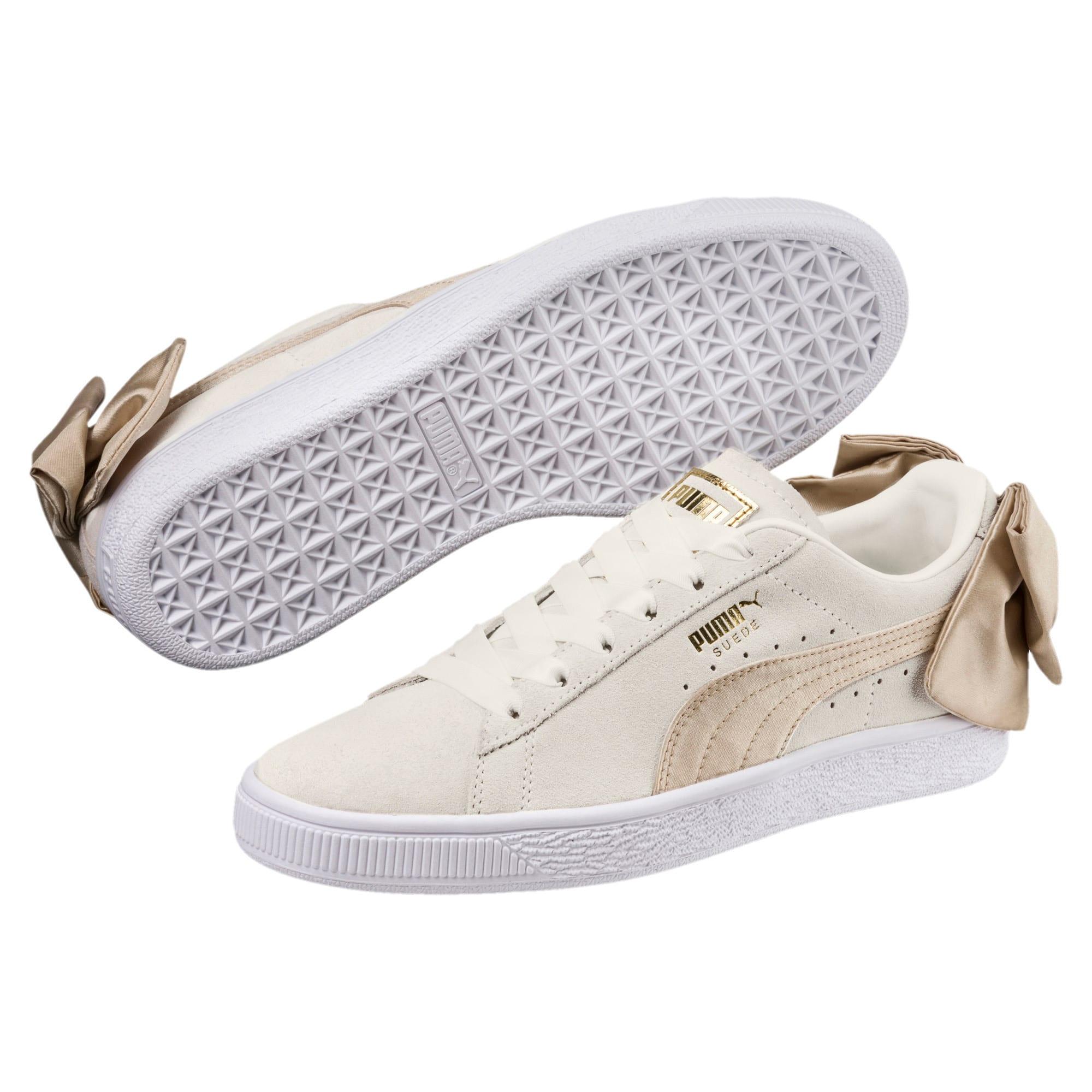 Thumbnail 2 of Suede Bow Varsity Women's Sneakers, Marshmallow-Metallic Gold, medium