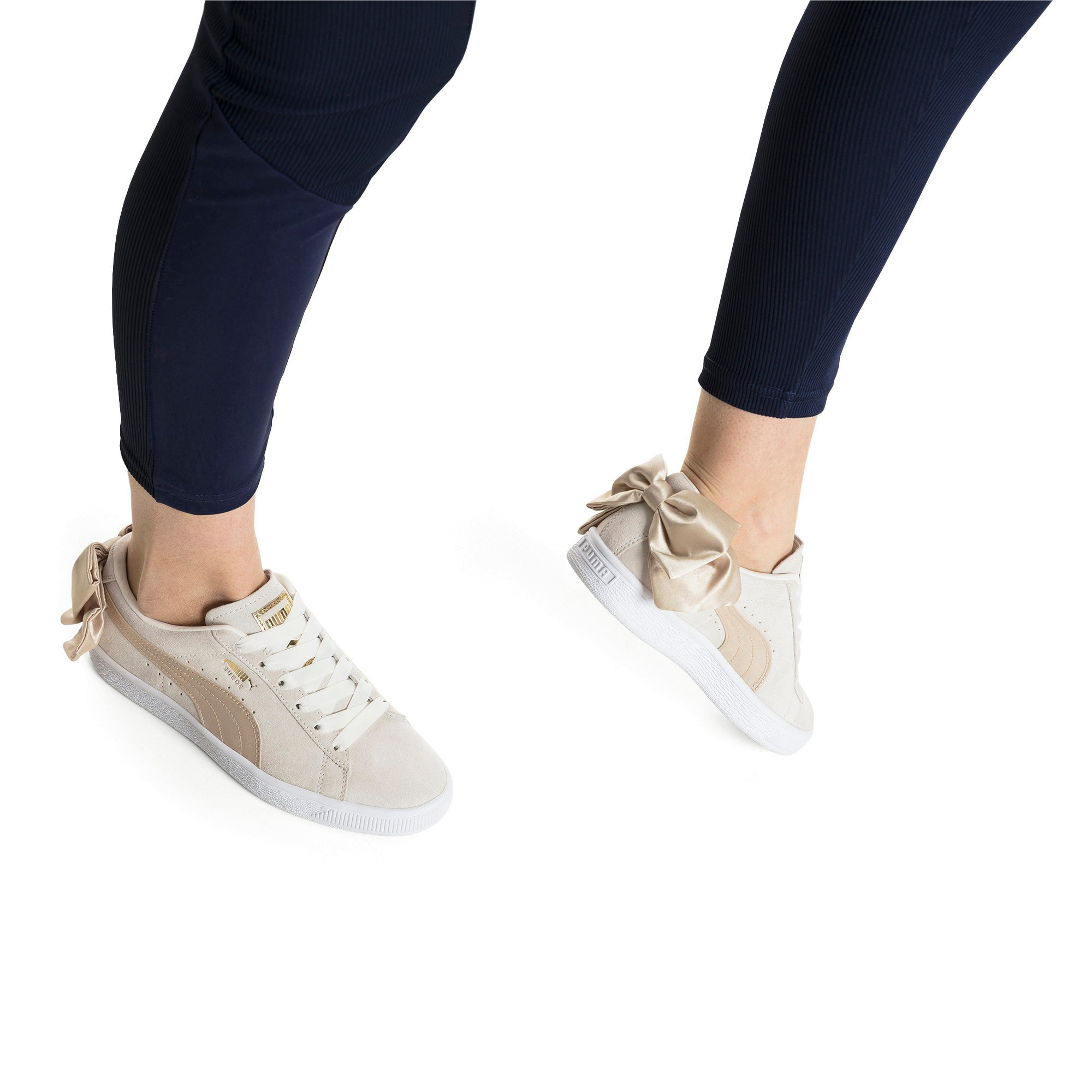 Thumbnail 7 of Suede Bow Varsity Women's Trainers, Marshmallow-Metallic Gold, medium