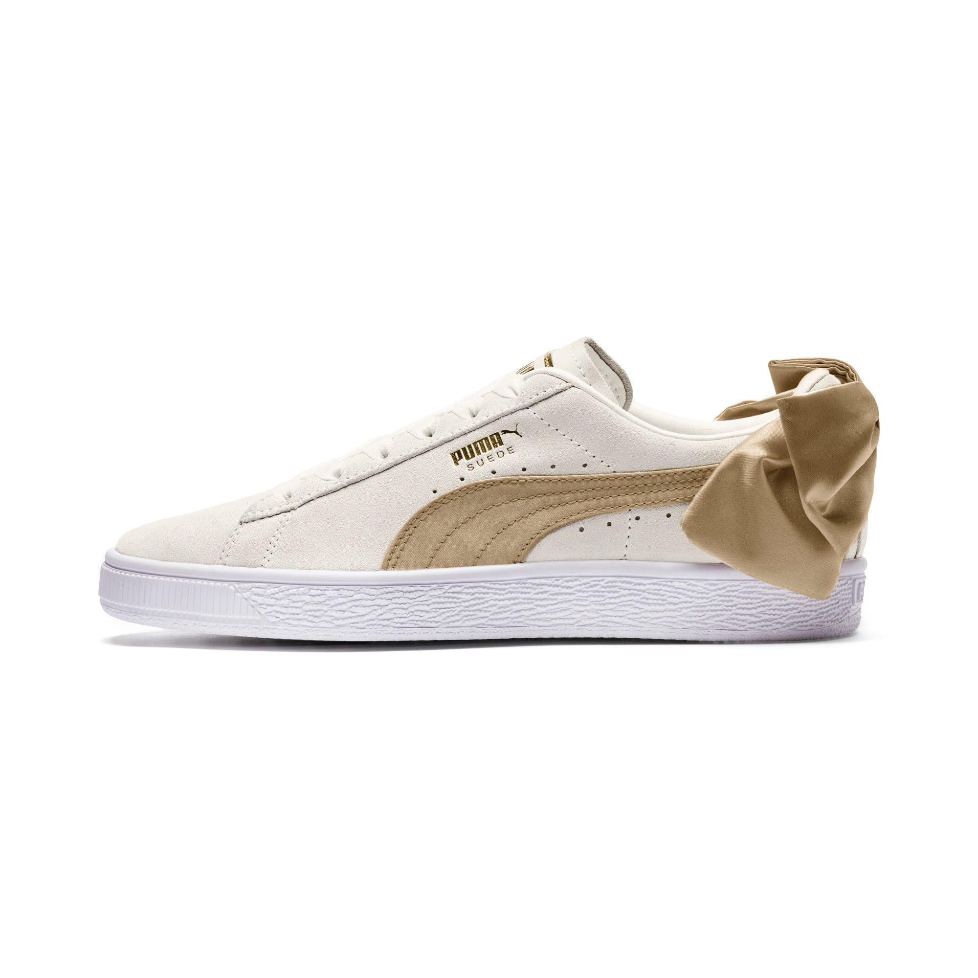 Thumbnail 1 of Suede Bow Varsity Women's Trainers, Marshmallow-Metallic Gold, medium