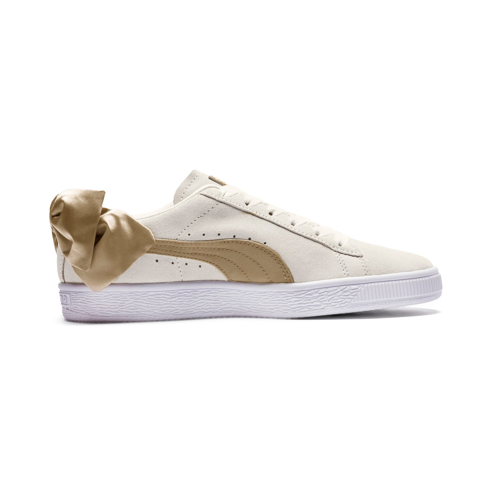 Thumbnail 5 of Suede Bow Varsity Women's Trainers, Marshmallow-Metallic Gold, medium