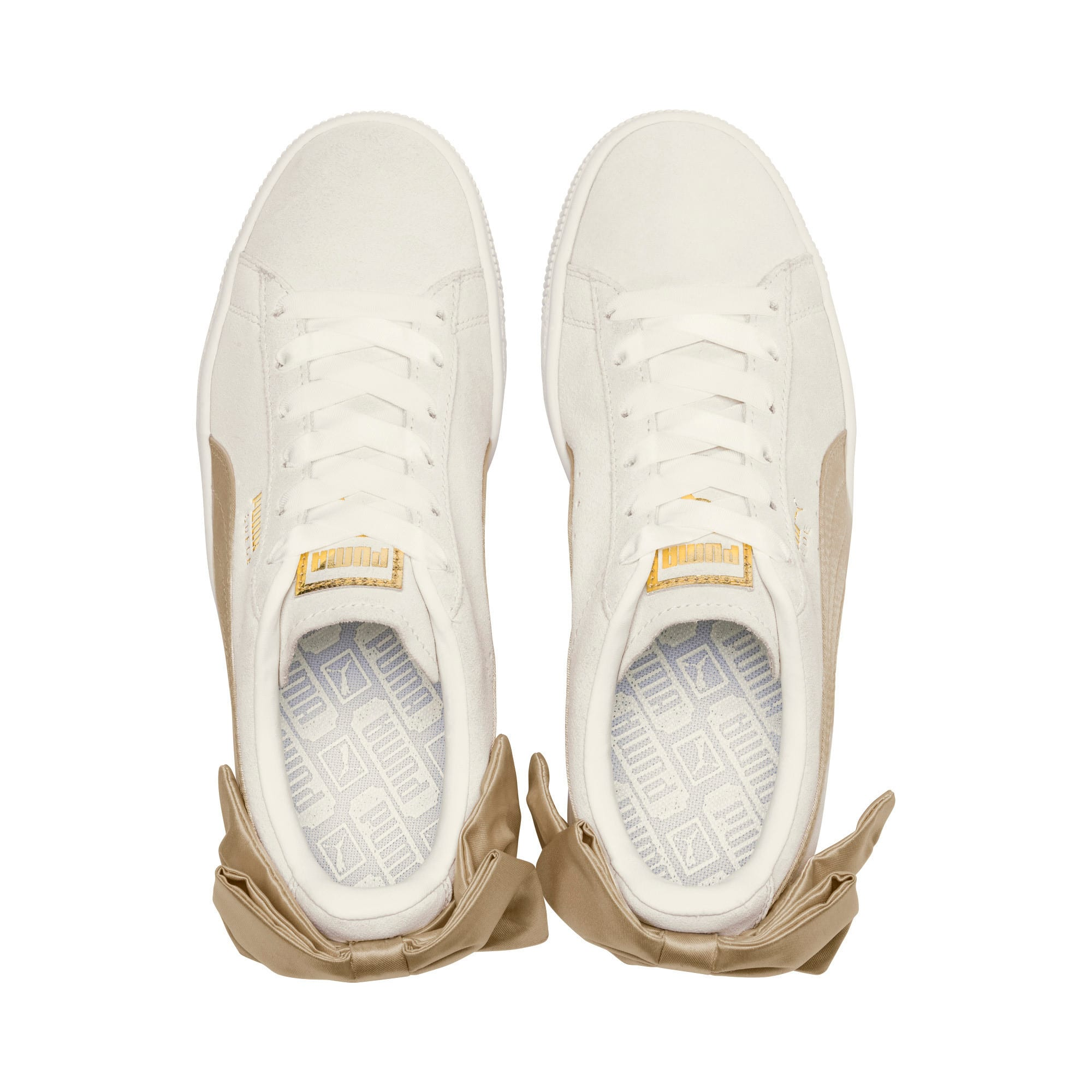 Thumbnail 6 of Suede Bow Varsity Women's Sneakers, Marshmallow-Metallic Gold, medium
