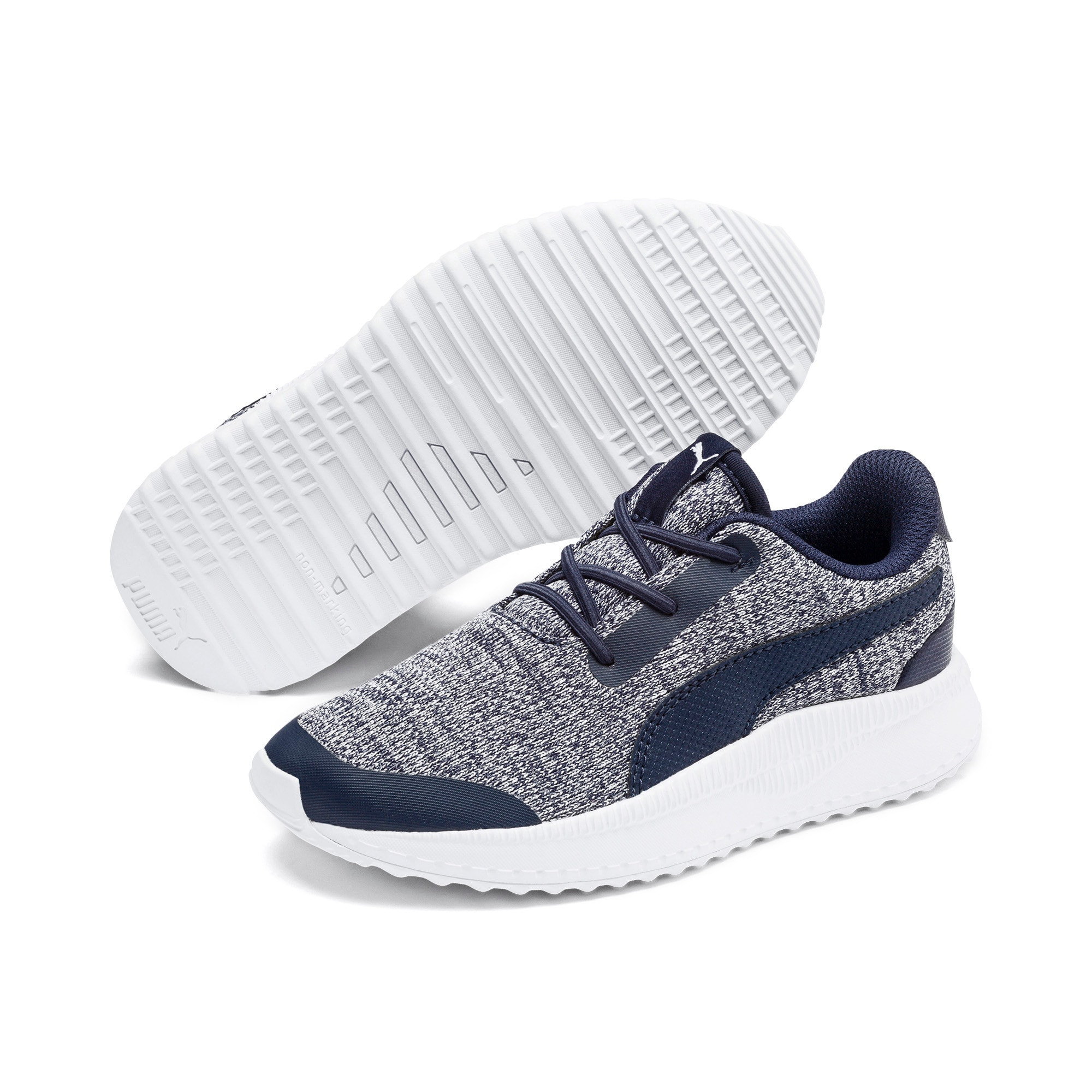Thumbnail 2 of Pacer Next FS Knit AC Kids' Trainers, Peacoat-Puma White, medium