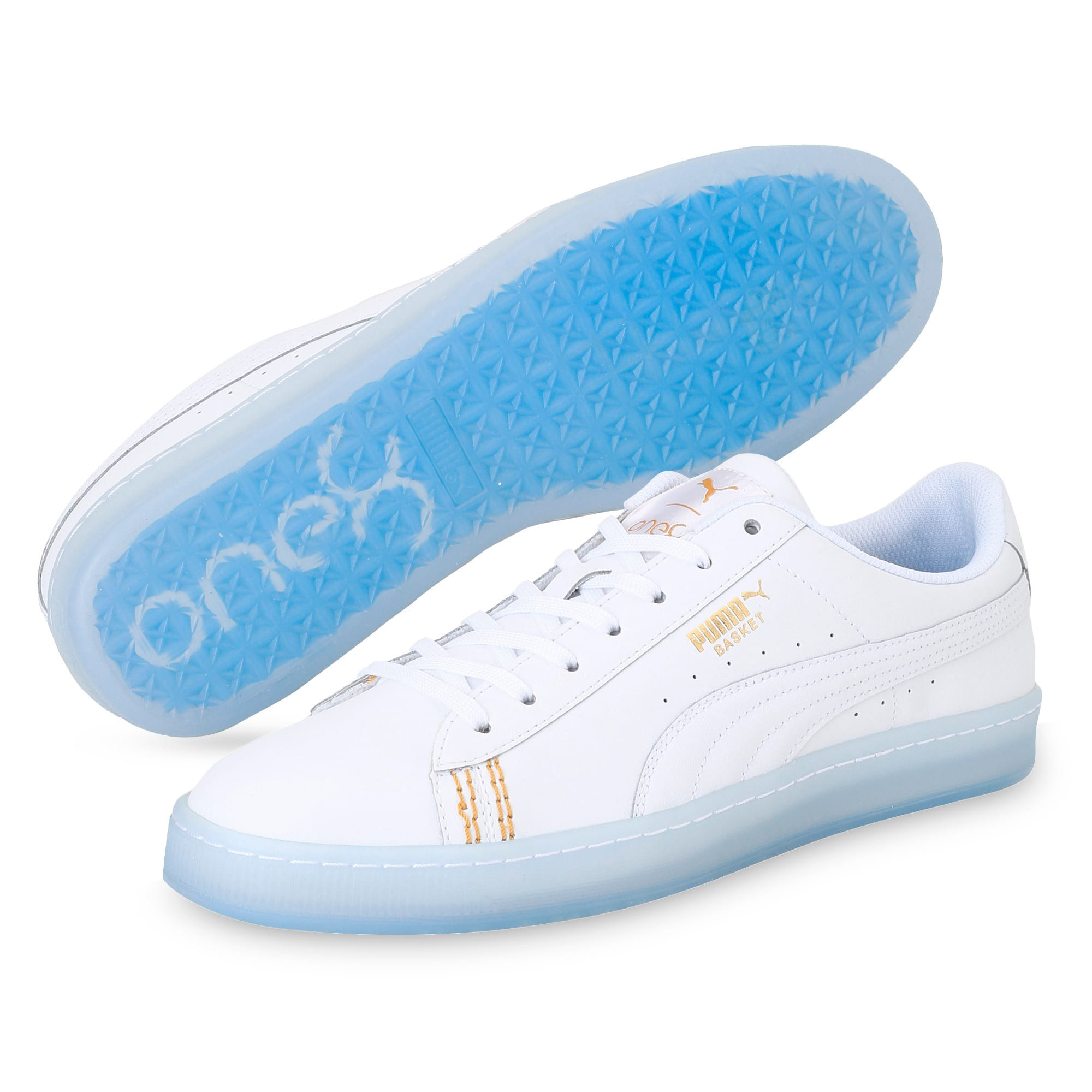 Thumbnail 2 of Basket Classic one8 Unisex Sneakers, White-Team Gold-Bleu Azur, medium-IND