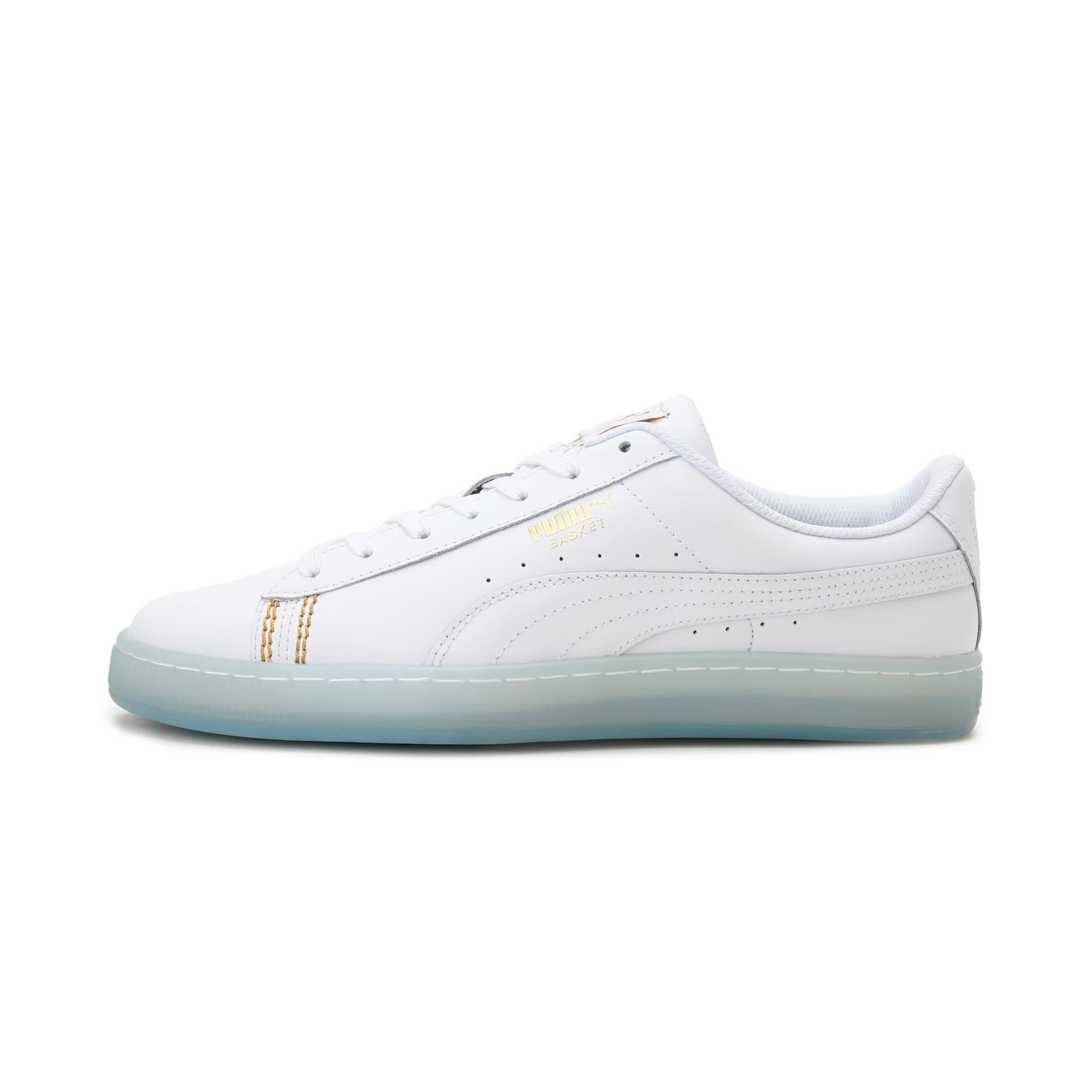 Thumbnail 1 of Basket Classic one8 Unisex Sneakers, White-Team Gold-Bleu Azur, medium-IND