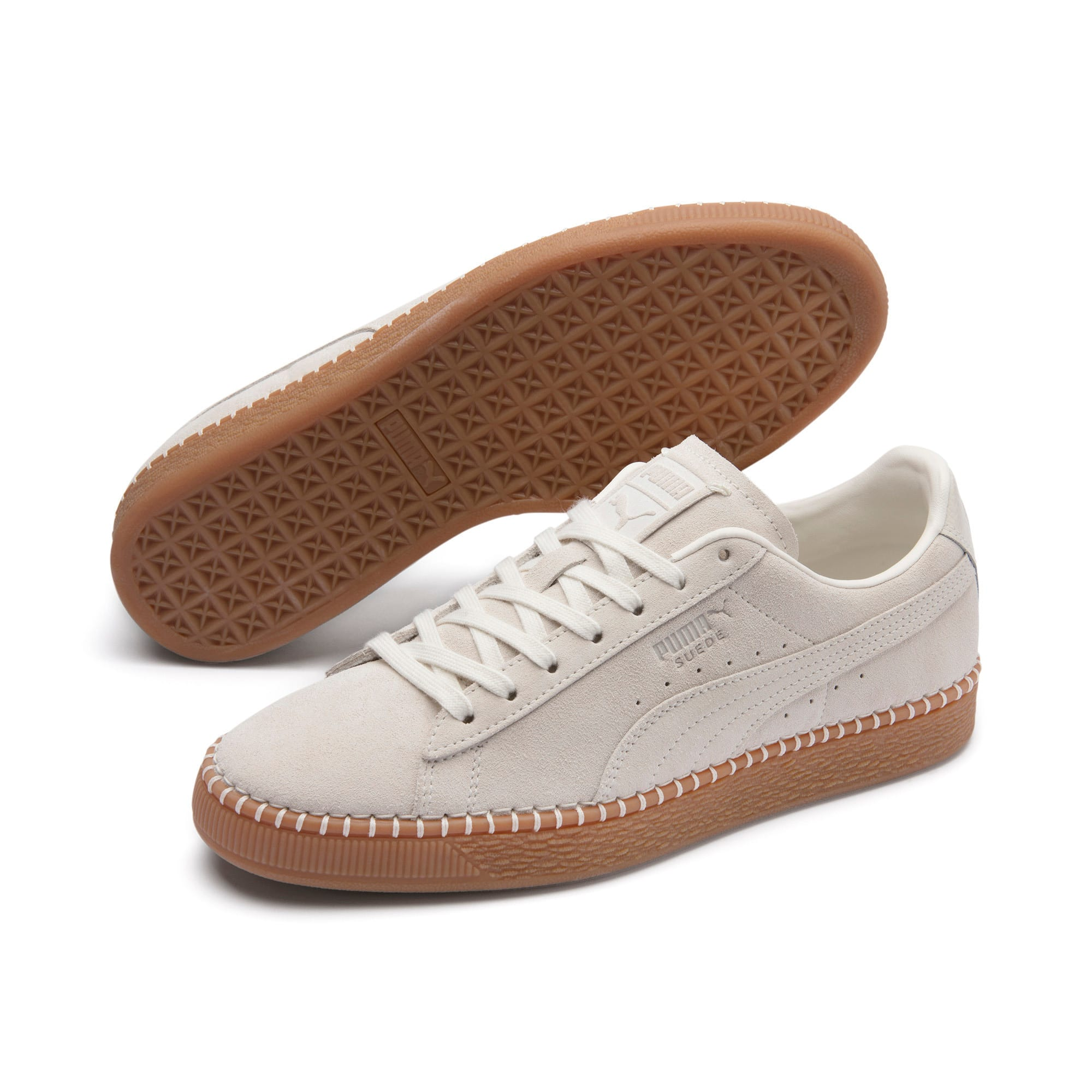 Thumbnail 3 of Suede Classic Blanket Stitch Trainers, Whisper White-Gum, medium-IND