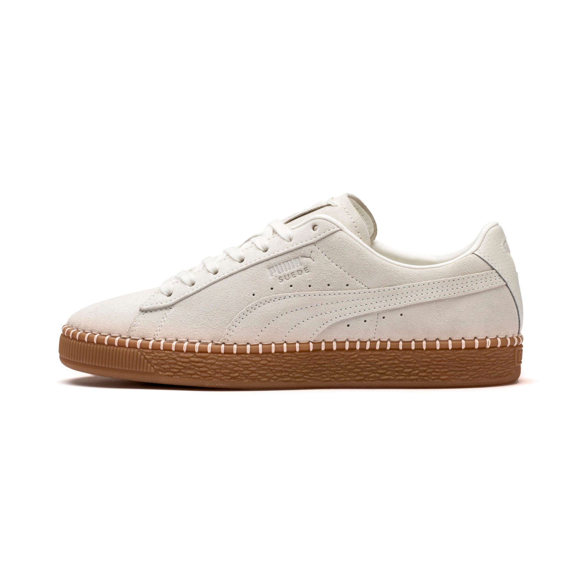 Thumbnail 1 of Suede Classic Blanket Stitch Trainers, Whisper White-Gum, medium-IND