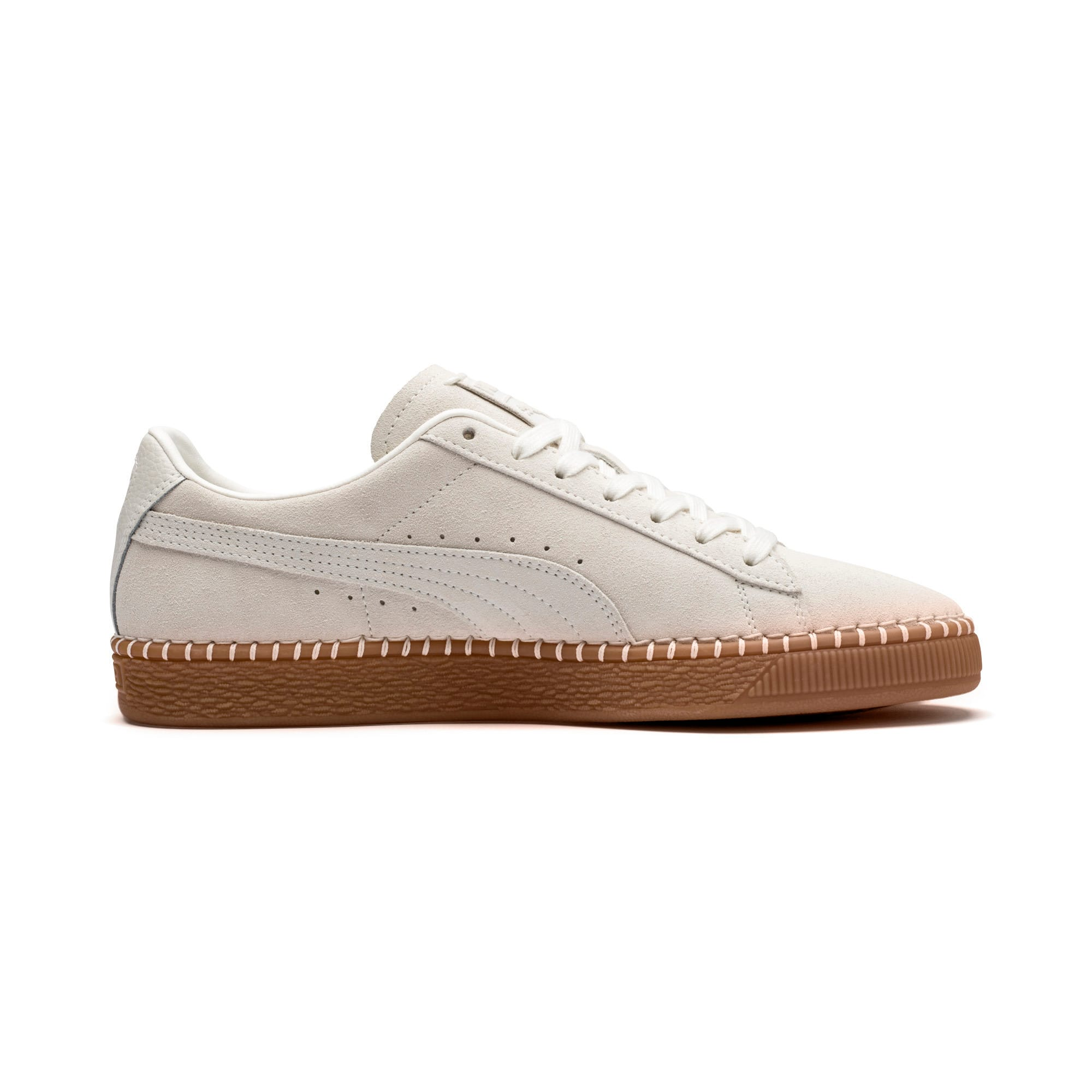Thumbnail 6 of Suede Classic Blanket Stitch Trainers, Whisper White-Gum, medium-IND