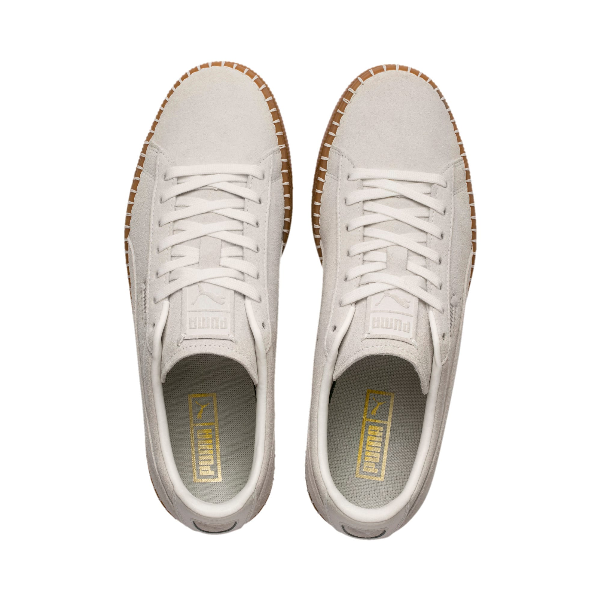 Thumbnail 7 of Suede Classic Blanket Stitch Trainers, Whisper White-Gum, medium-IND