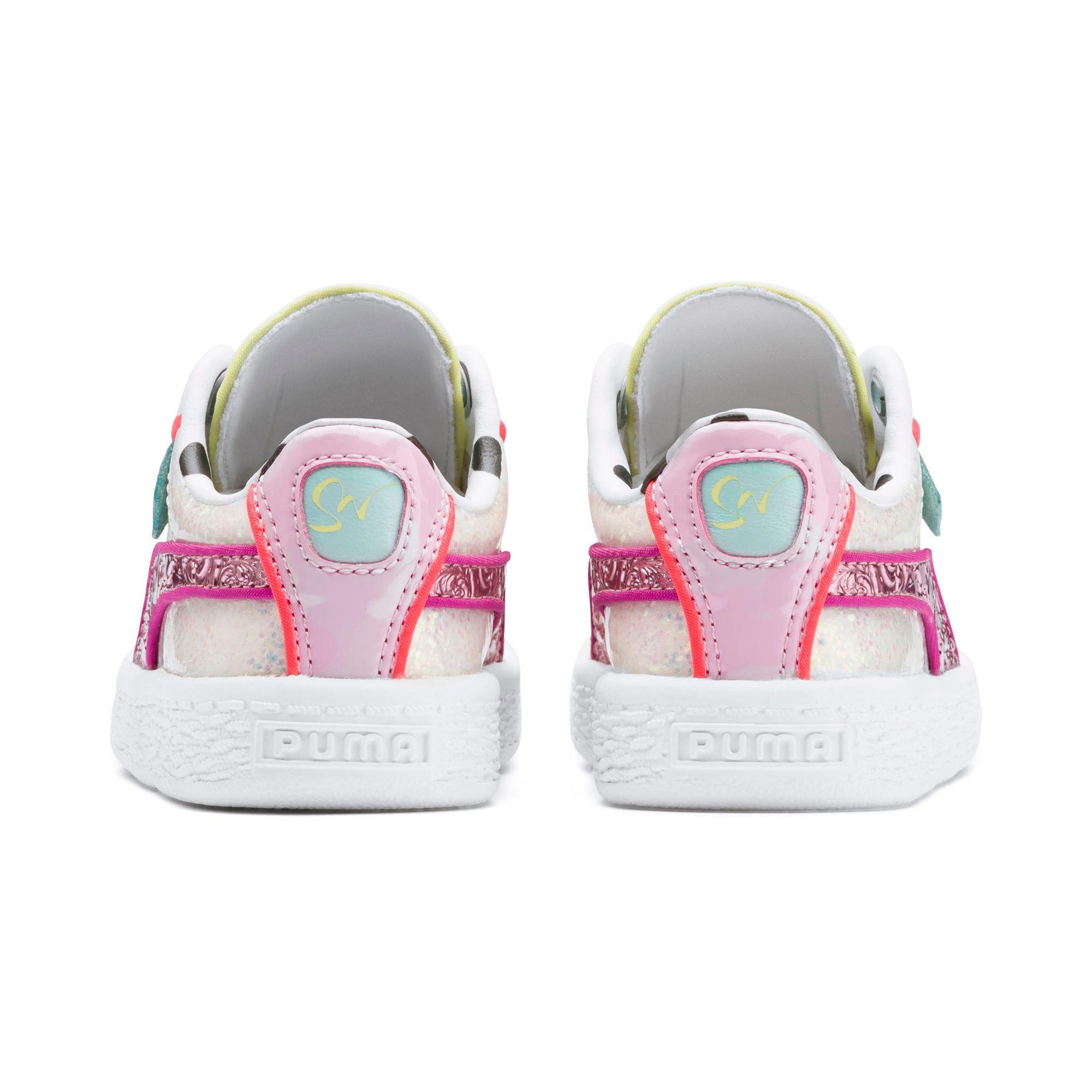 Thumbnail 3 of PUMA x SOPHIA WEBSTER Basket Toddler Shoes, Puma White-Pale Pink, medium