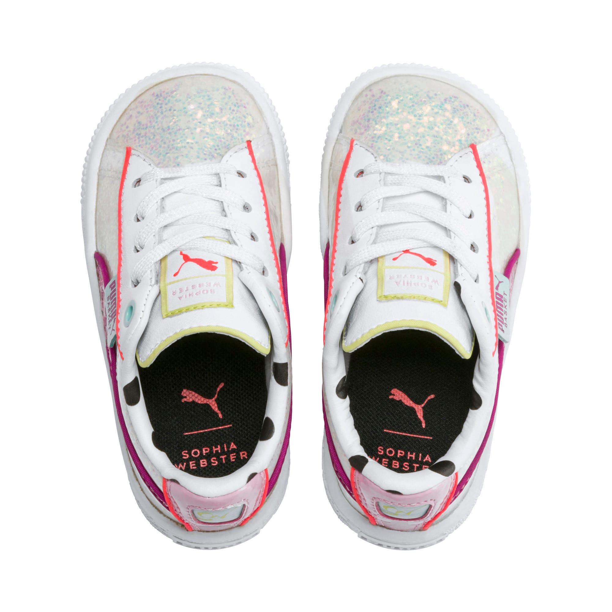 Thumbnail 6 of PUMA x SOPHIA WEBSTER Basket Toddler Shoes, Puma White-Pale Pink, medium