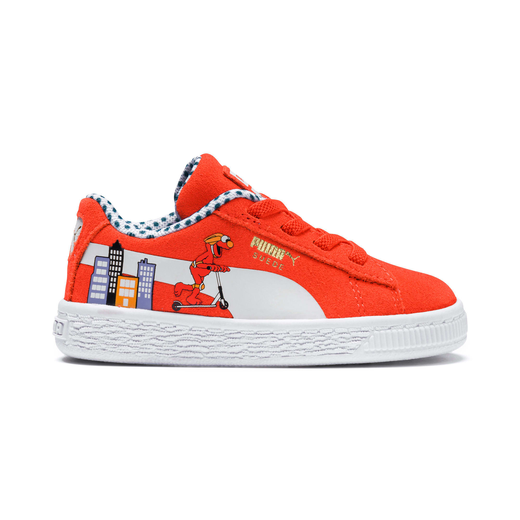 Thumbnail 7 of Sesame Street Suede Babies' Trainers, Cherry Tomato-Puma White, medium
