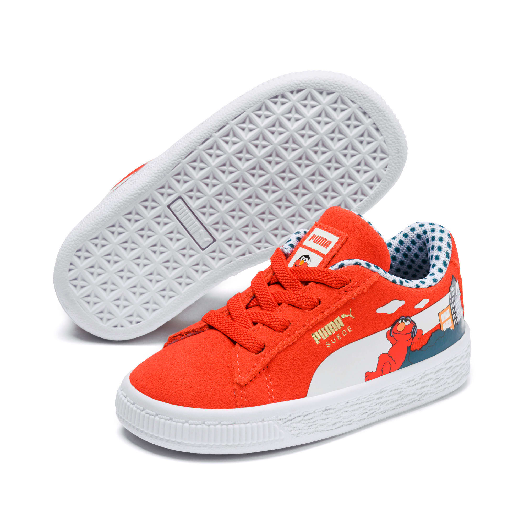 Thumbnail 2 of Sesame Street Suede Babies' Trainers, Cherry Tomato-Puma White, medium
