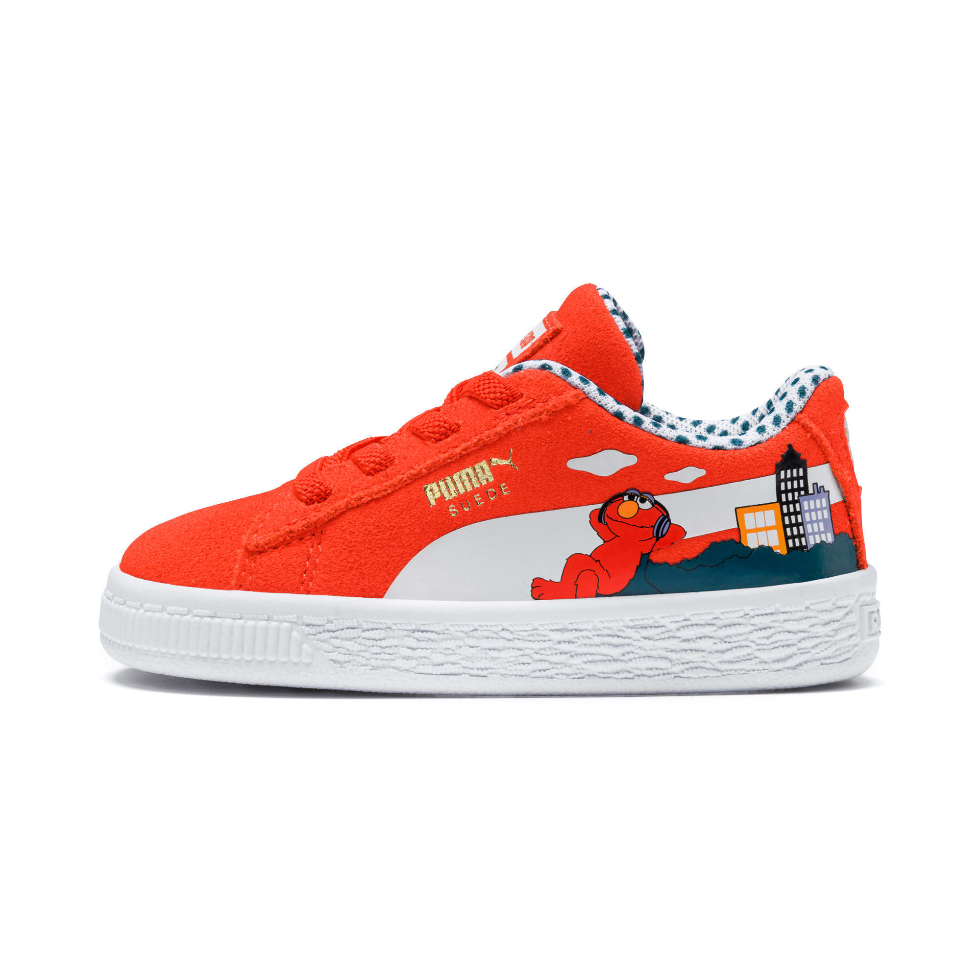 Thumbnail 1 of Sesame Street Suede Babies' Trainers, Cherry Tomato-Puma White, medium
