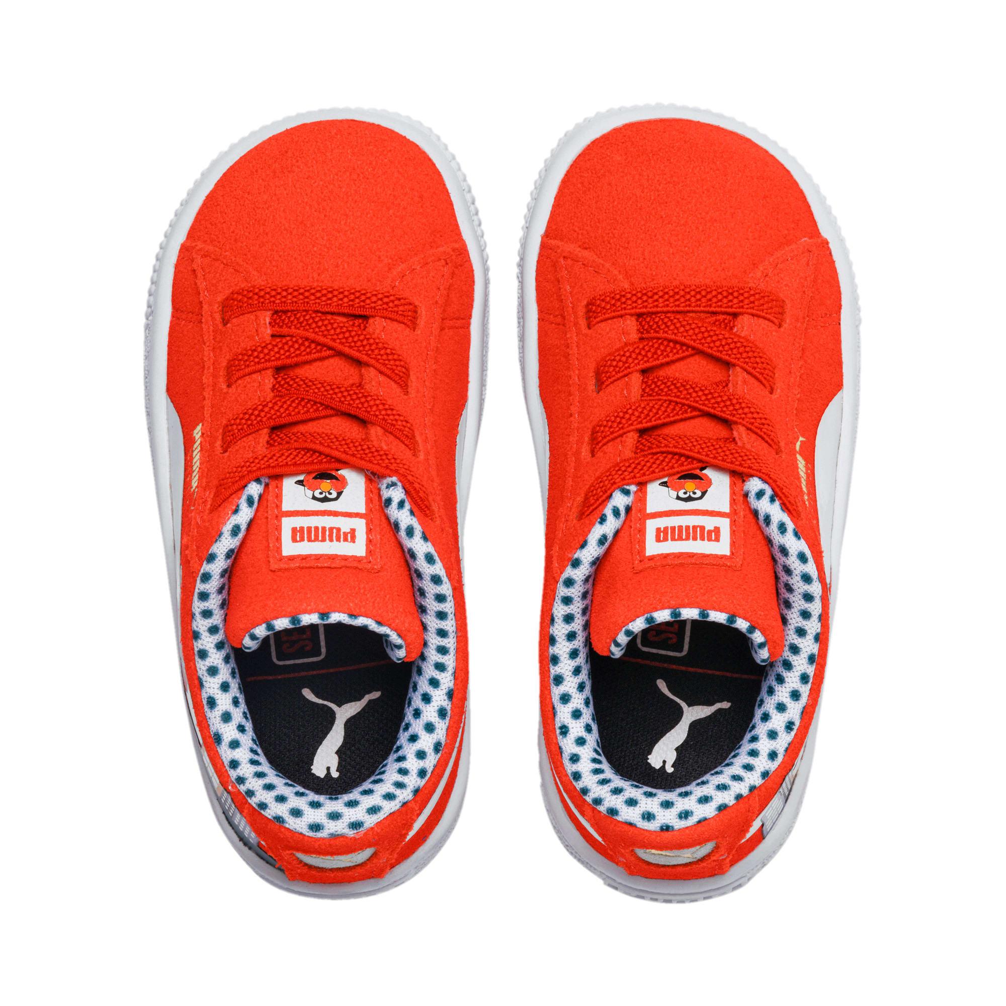 Thumbnail 6 of Sesame Street 50 Suede Toddler Shoes, Cherry Tomato-Puma White, medium