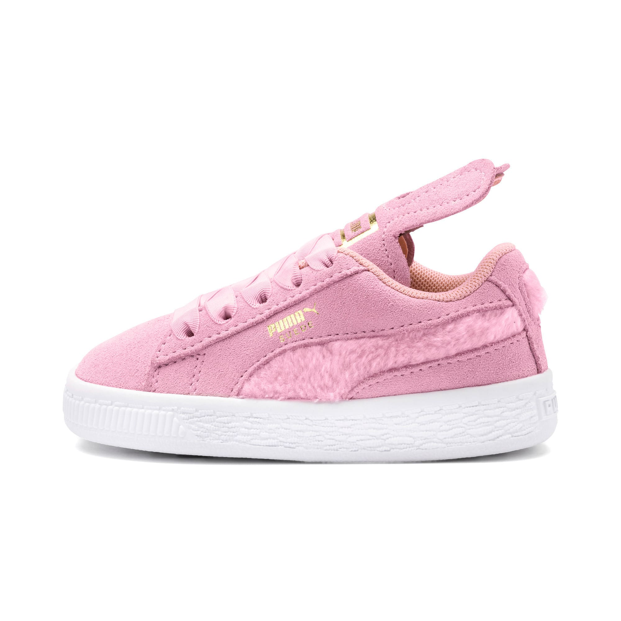 Thumbnail 1 of Suede Easter Alternate Closure Baby Sneaker, Pale Pink-Coral Cloud, medium