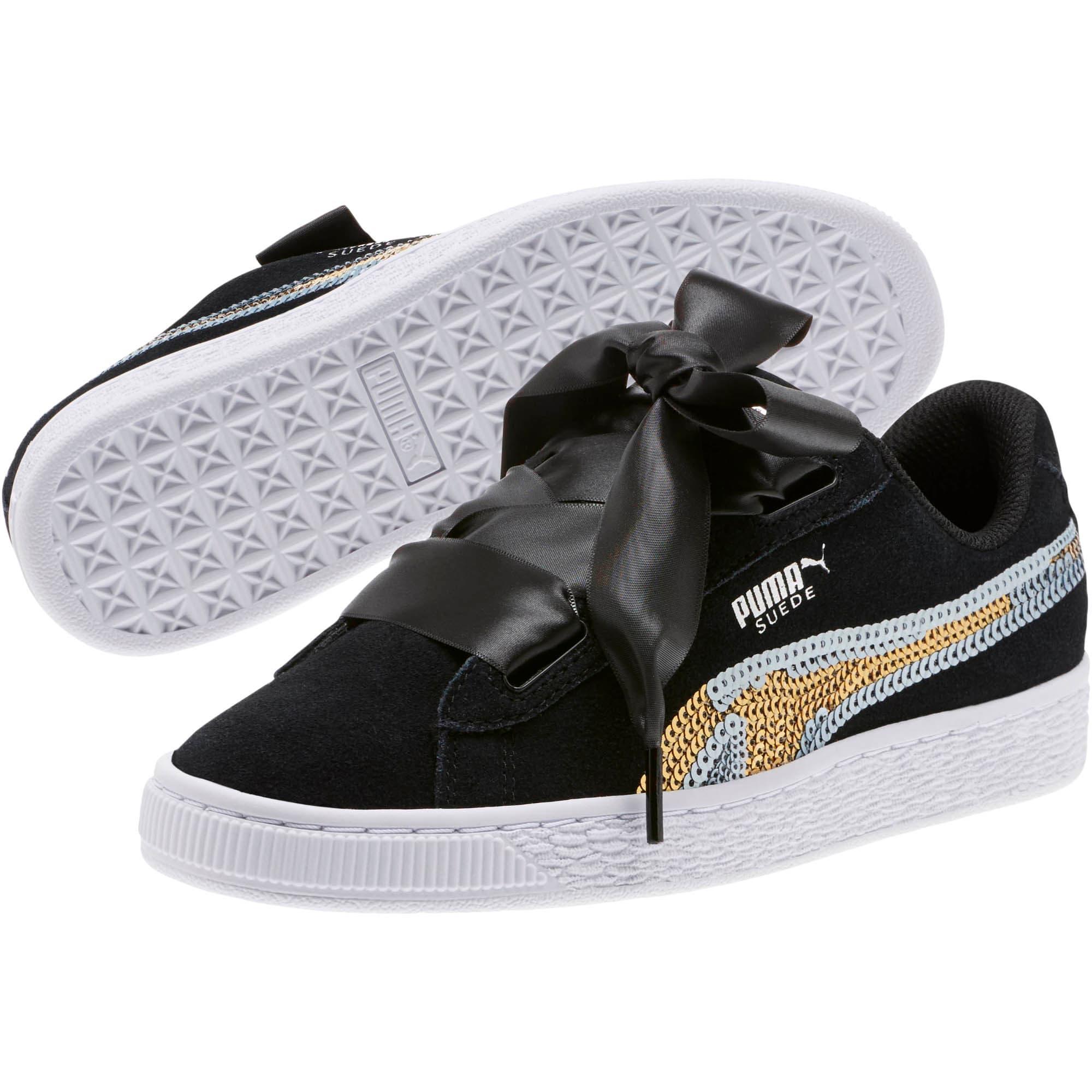 Miniatura 2 de Zapatos deportivos con lentejuelasSuede Heart Trailblazer JR, Puma Black-Puma Team Gold, mediano