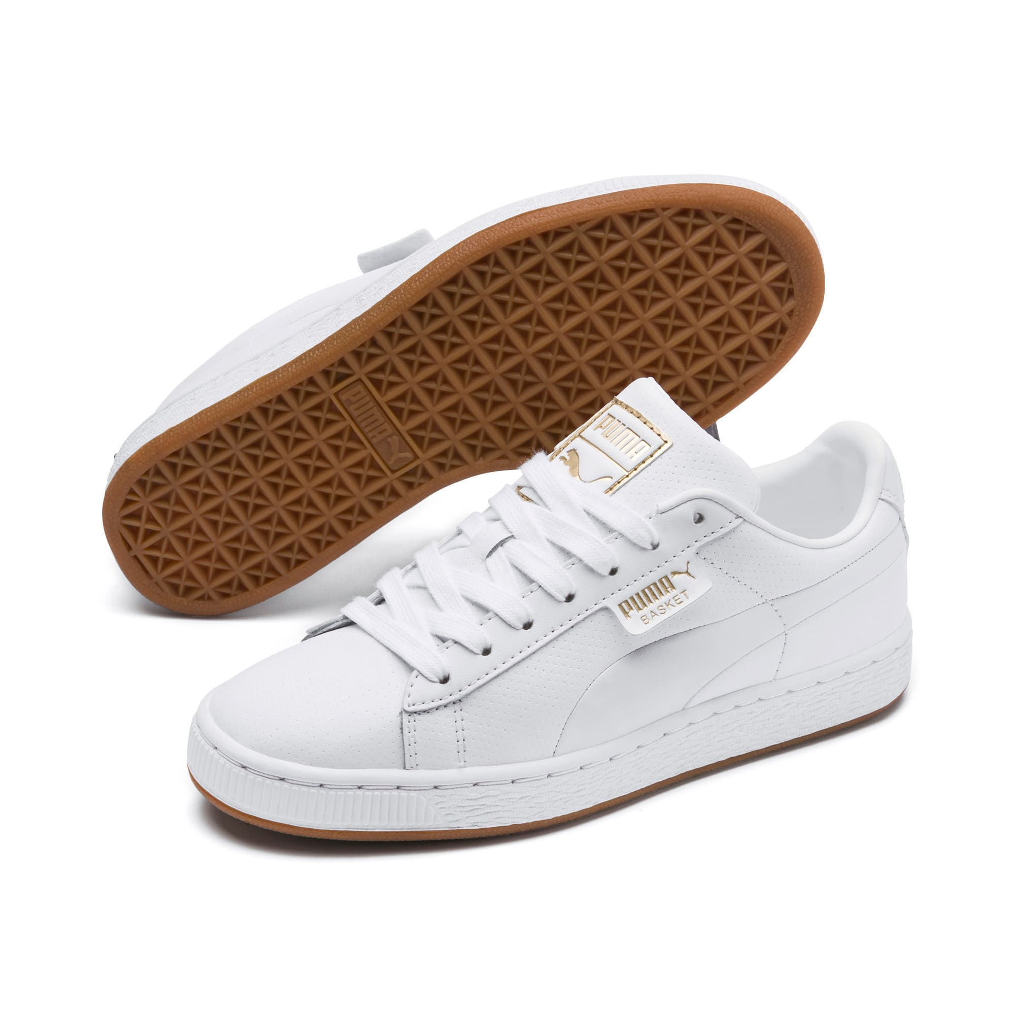 Thumbnail 2 of Basket Classic Gum Youth Sneaker, Puma White-Gum, medium