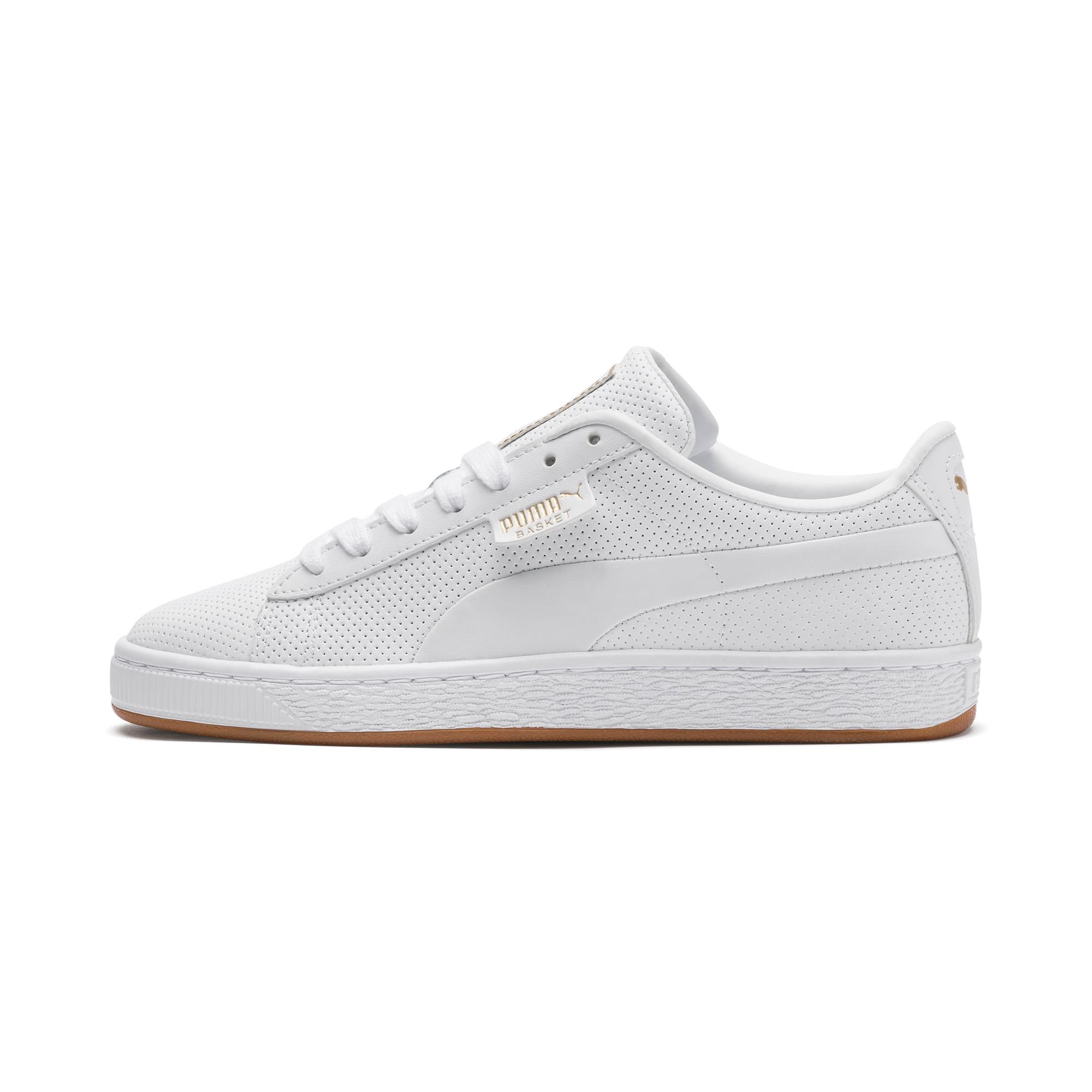 Thumbnail 1 of Basket Classic Gum Youth Sneaker, Puma White-Gum, medium
