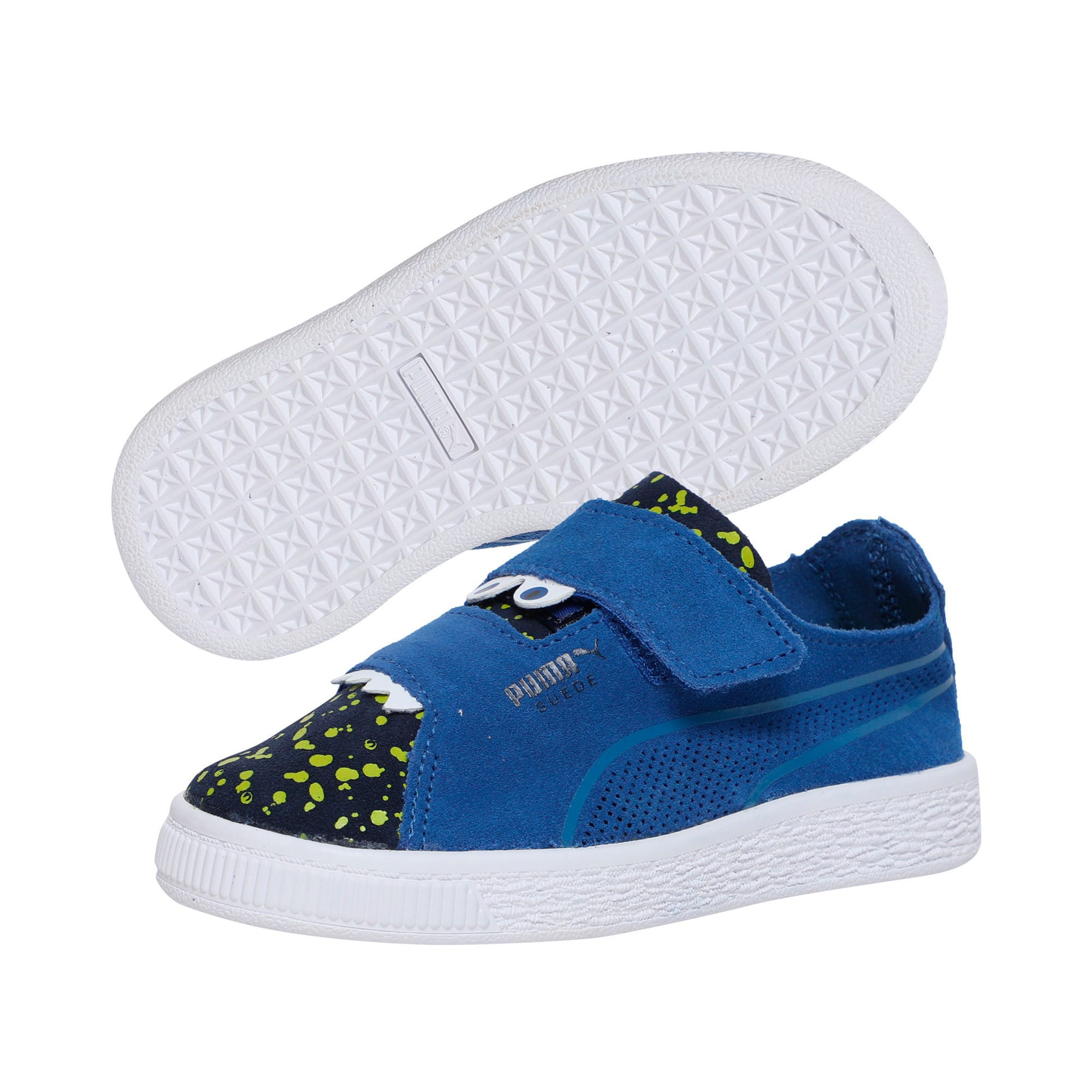 Thumbnail 2 of Suede Deconstructed Monster Kids' Trainers, Surf-Peac-Blazing Yellow, medium-IND