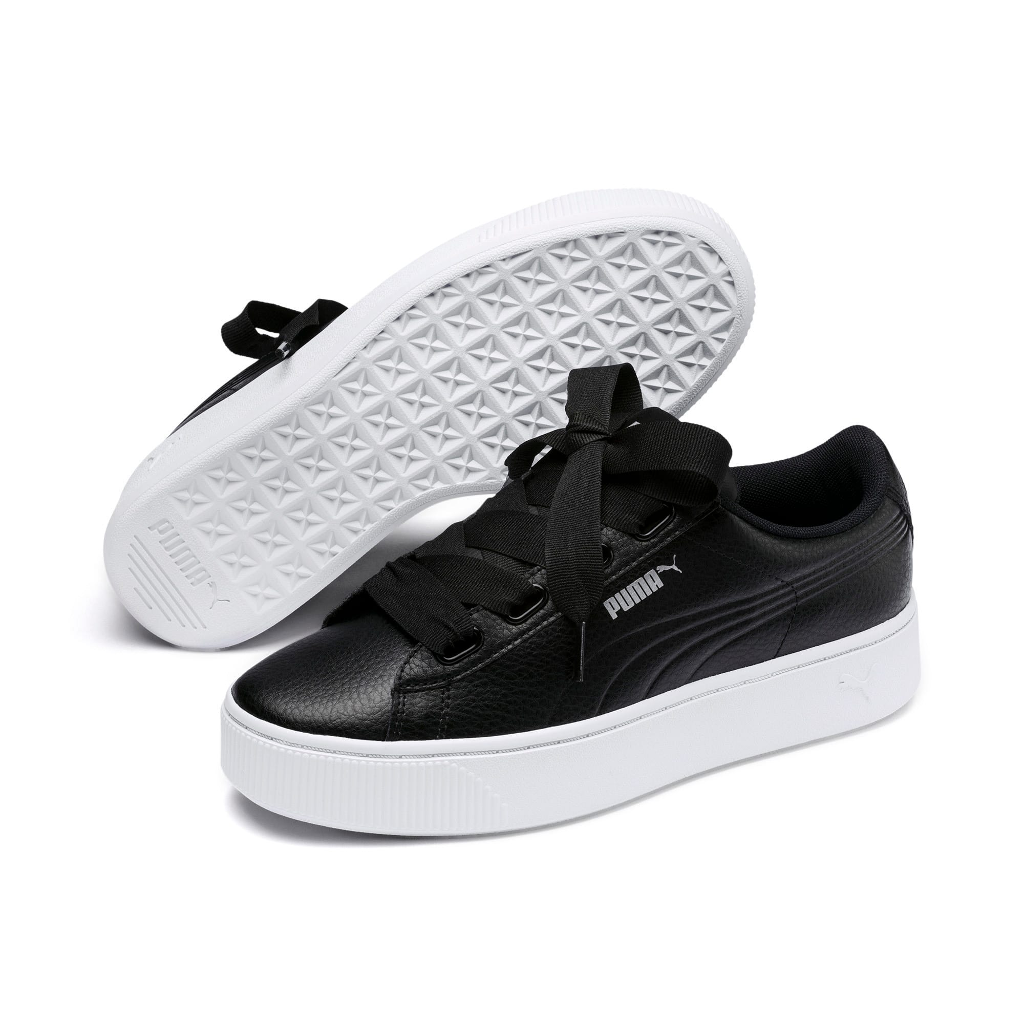 Thumbnail 2 of PUMA Vikky Stacked Ribbon Core Women's Sneakers, Puma Black-Puma Black, medium