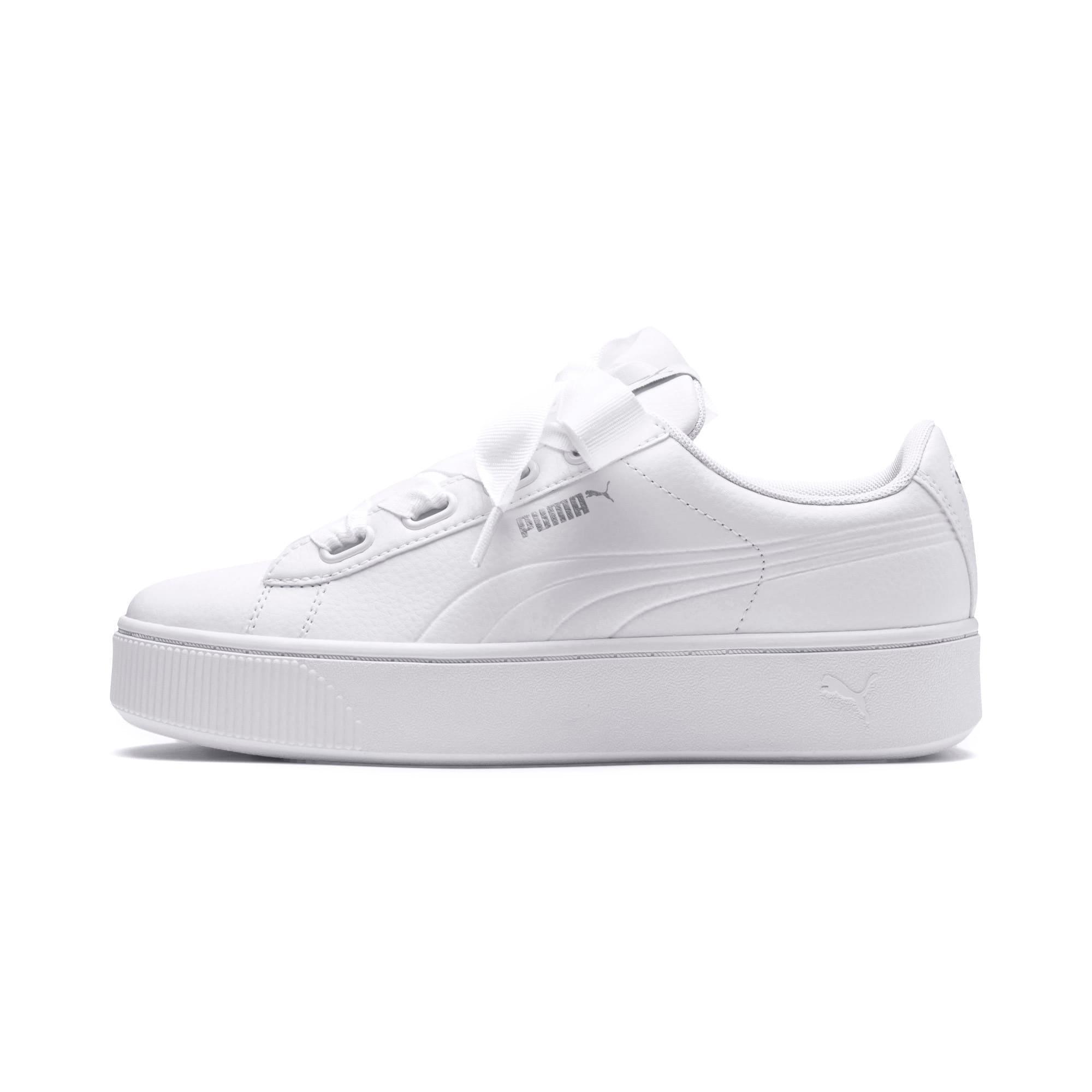 Thumbnail 1 of PUMA Vikky Stacked Ribbon Core Women's Sneakers, Puma White-Puma White, medium