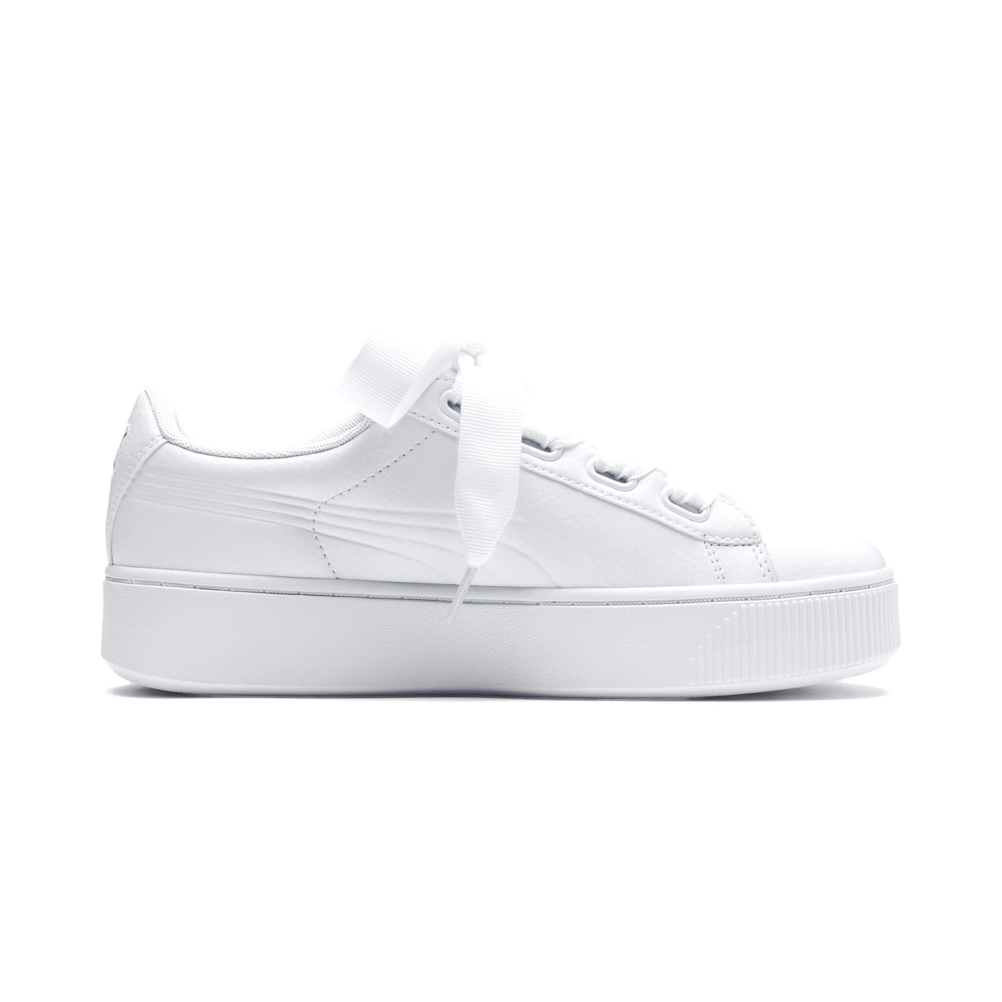 Thumbnail 5 of PUMA Vikky Stacked Ribbon Core Women's Sneakers, Puma White-Puma White, medium
