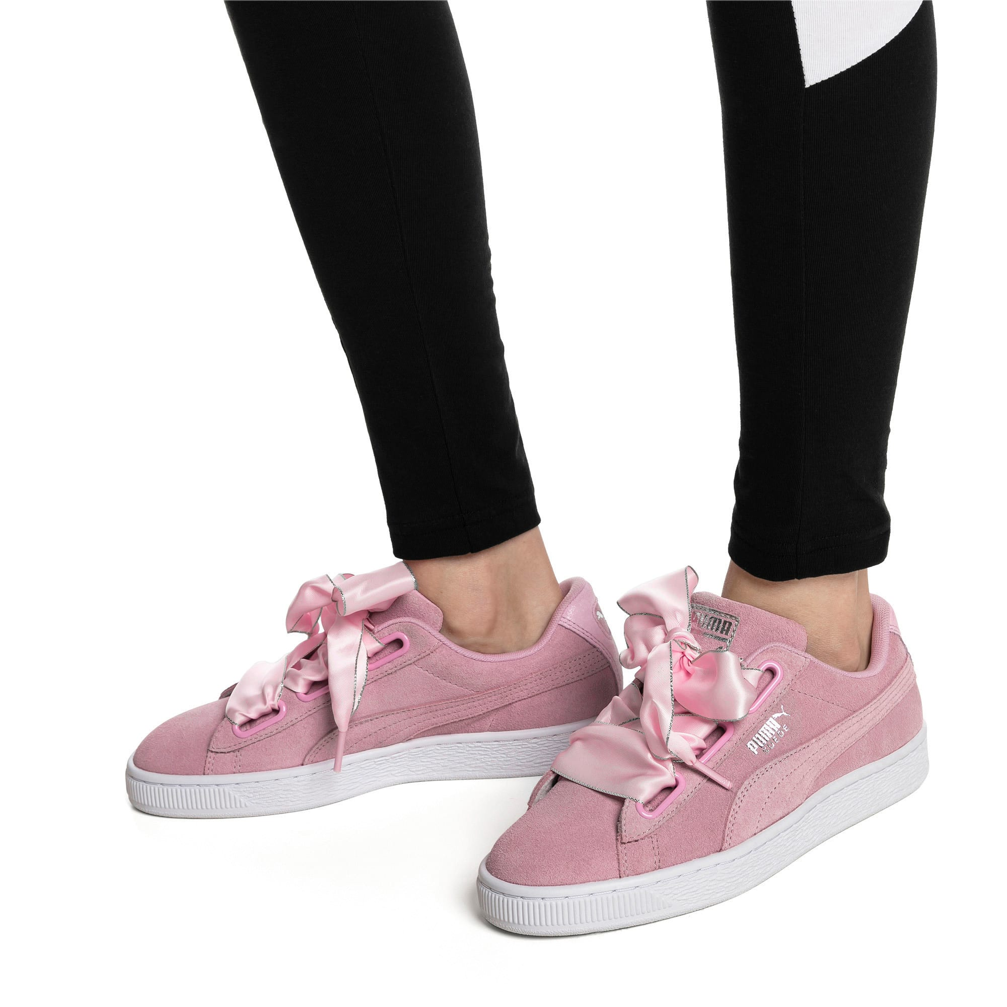 Thumbnail 2 of Suede Heart Galaxy Women's Shoes, Pale Pink-Puma Silver, medium-IND