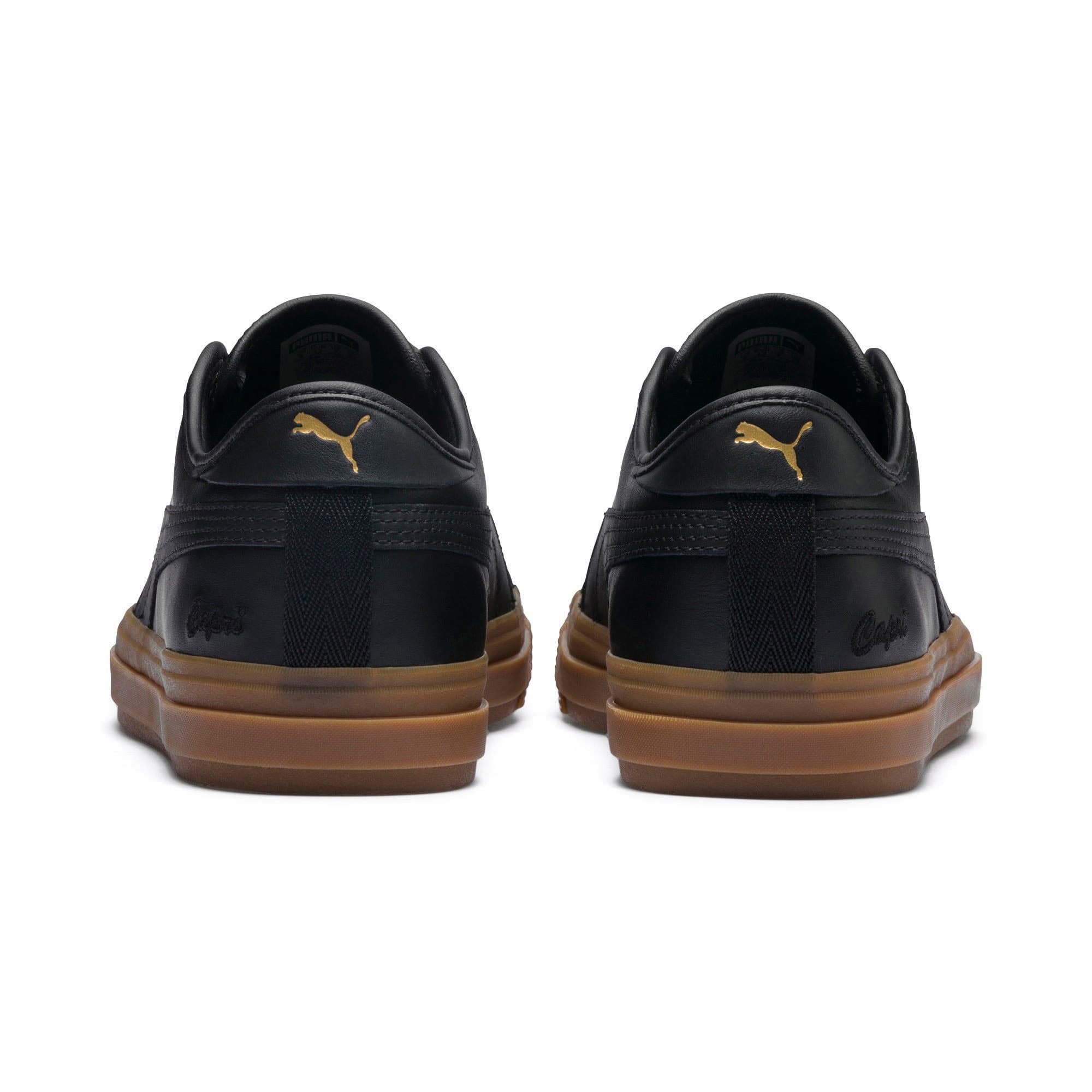 Thumbnail 5 of Capri Leather Trainers, Puma Black-Gum-Gum, medium-IND