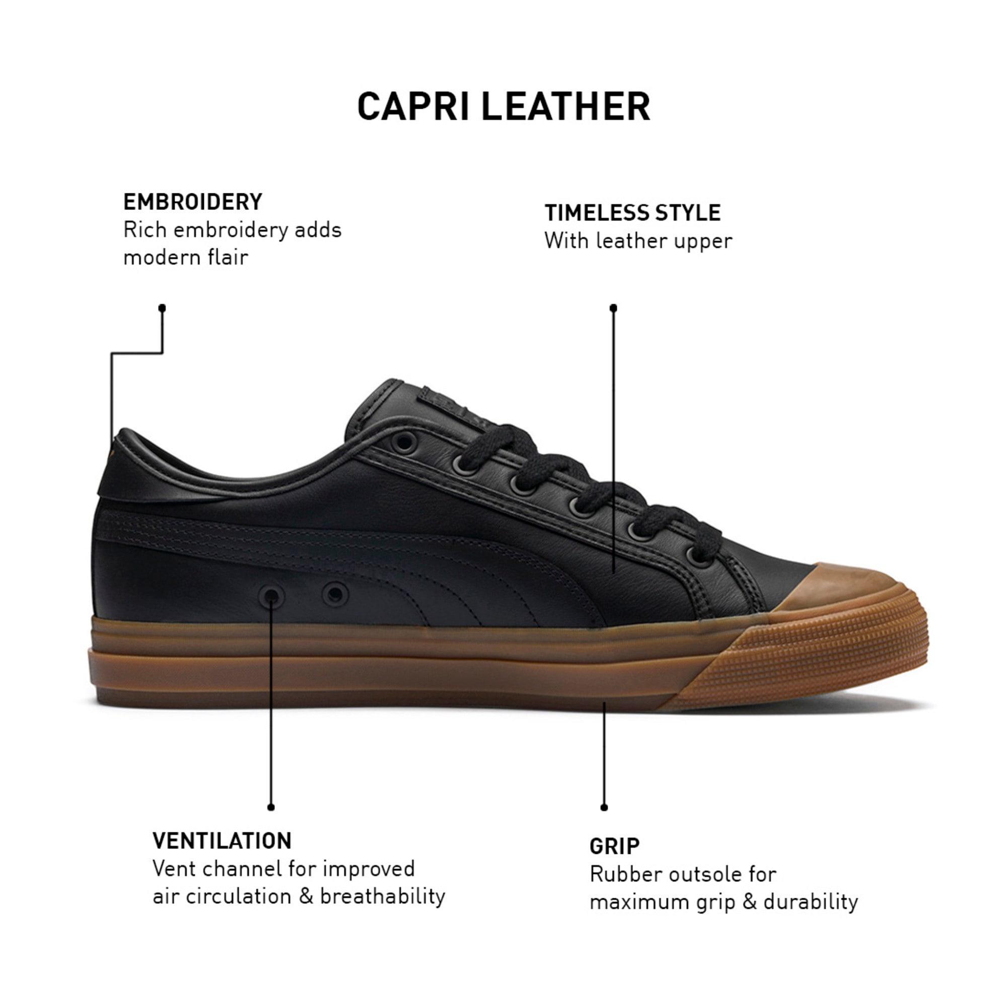 Thumbnail 9 of Capri Leather Trainers, Puma Black-Gum-Gum, medium-IND