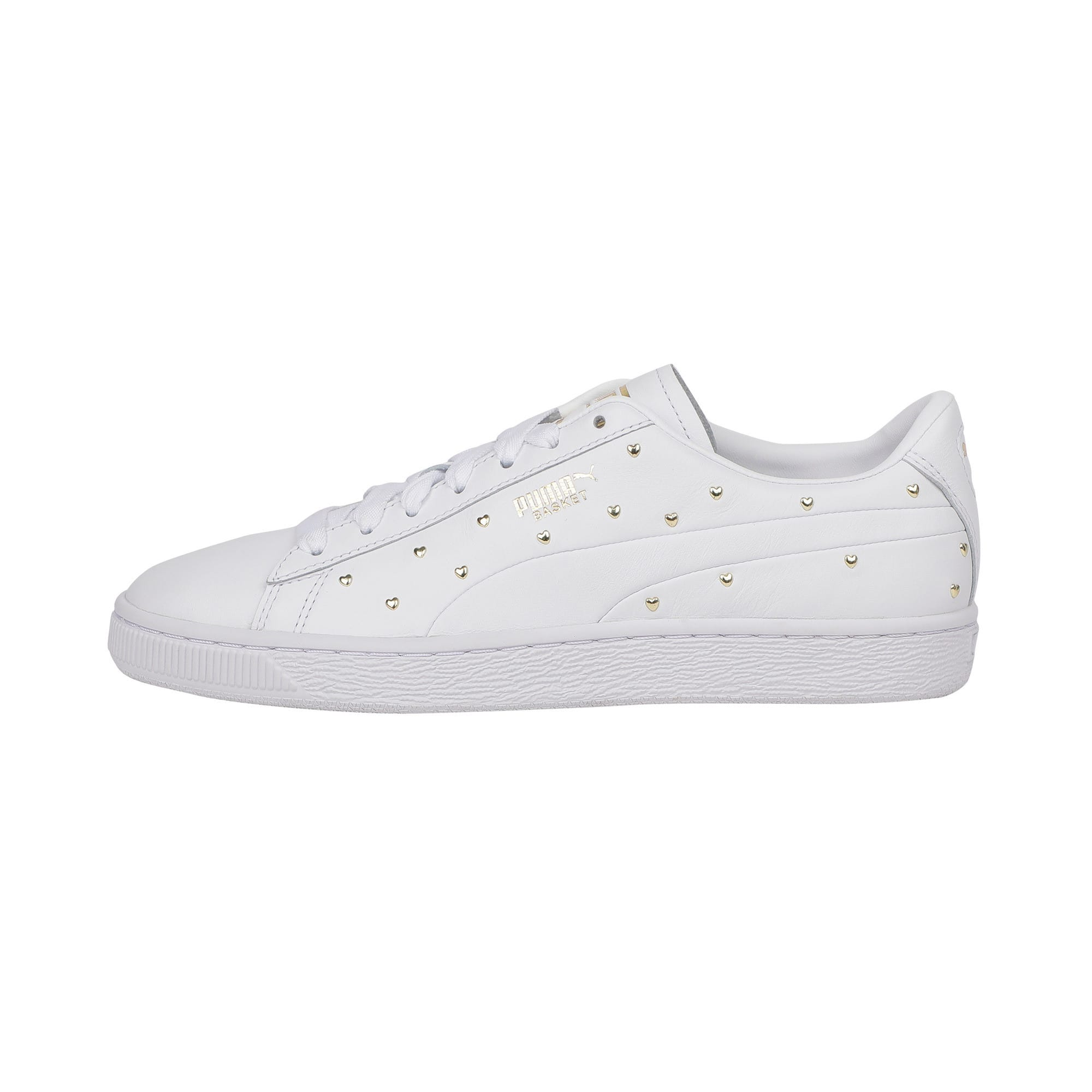 Thumbnail 1 of Basket Studs Women's Trainers, Puma White-Puma Team Gold, medium-IND