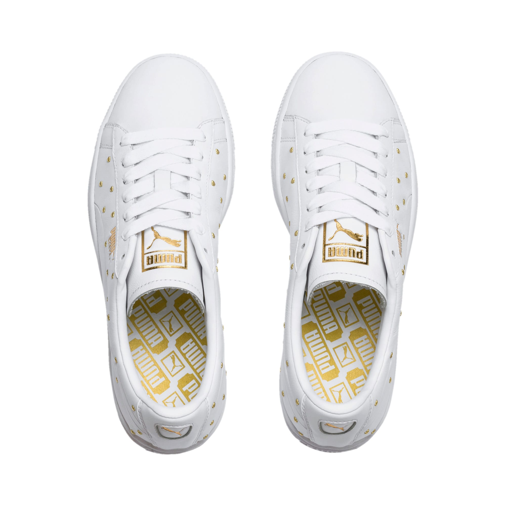 Thumbnail 7 of Basket Studs Women's Trainers, Puma White-Puma Team Gold, medium-IND