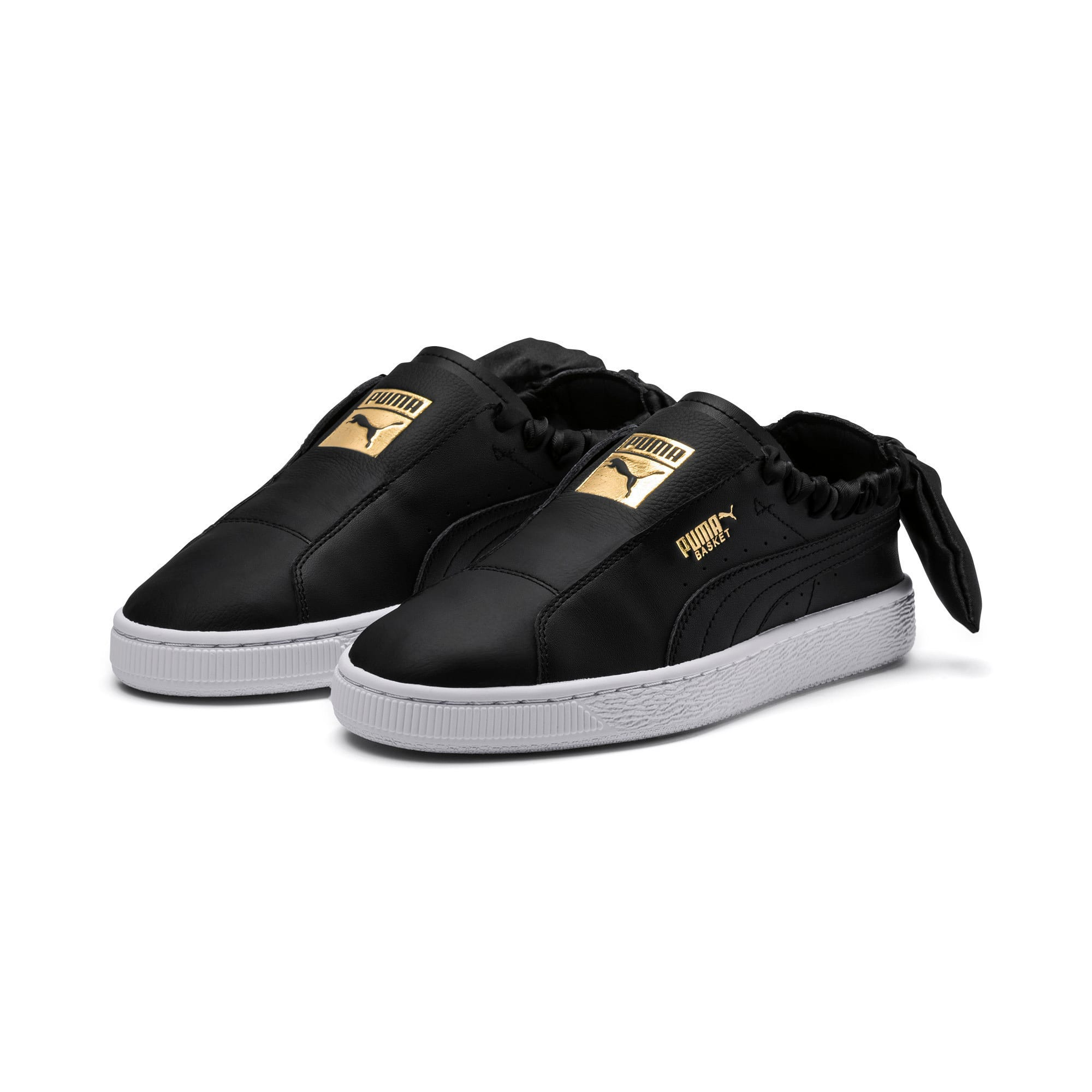 Thumbnail 3 of PUMA Basket Twist Women's Trainers, Puma Black-Puma Team Gold, medium-IND