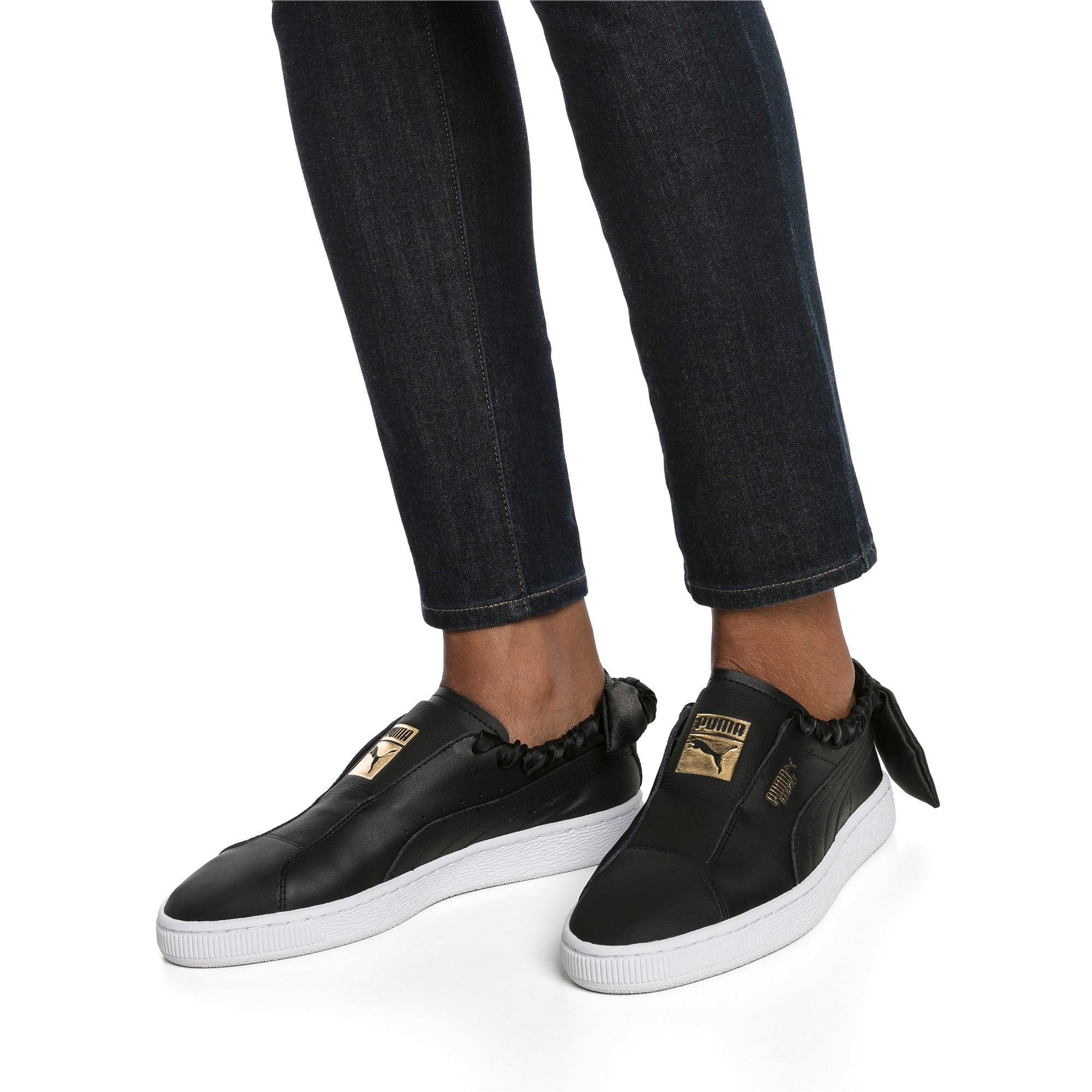 Thumbnail 2 of PUMA Basket Twist Women's Trainers, Puma Black-Puma Team Gold, medium-IND