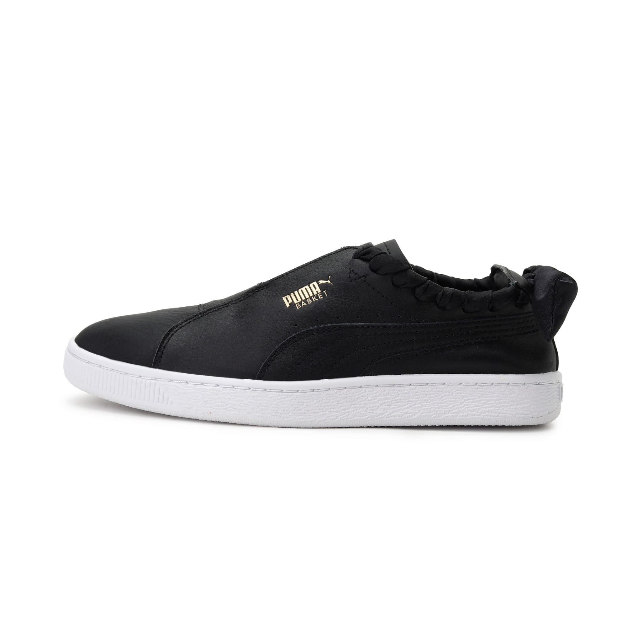 Thumbnail 1 of PUMA Basket Twist Women's Trainers, Puma Black-Puma Team Gold, medium-IND