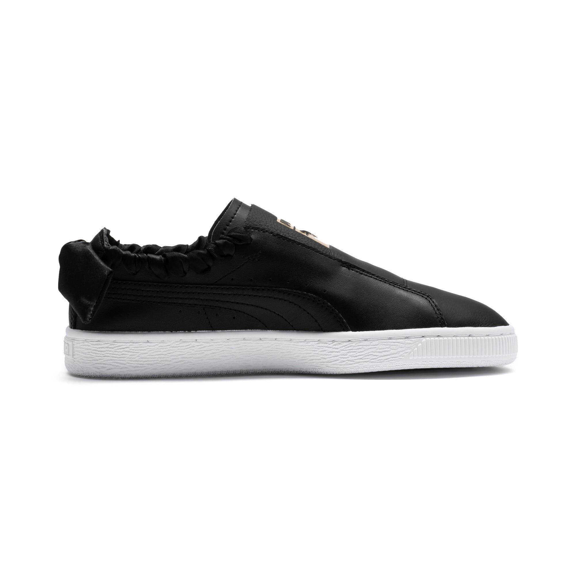 Thumbnail 6 of PUMA Basket Twist Women's Trainers, Puma Black-Puma Team Gold, medium-IND