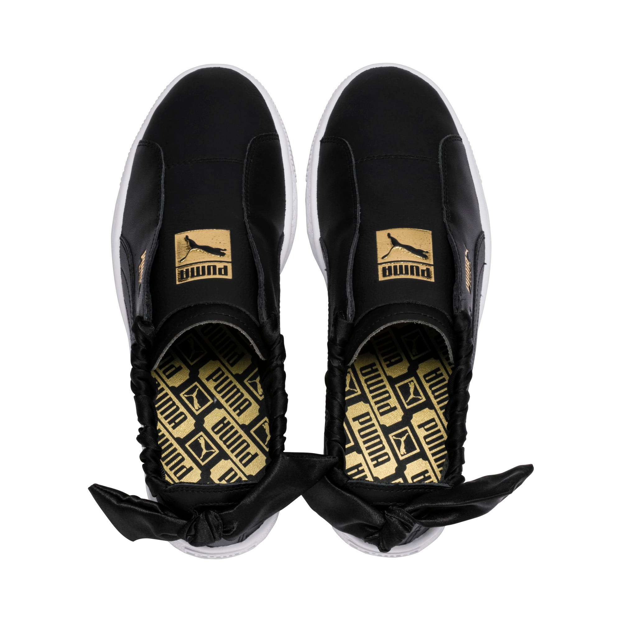 Thumbnail 7 of PUMA Basket Twist Women's Trainers, Puma Black-Puma Team Gold, medium-IND