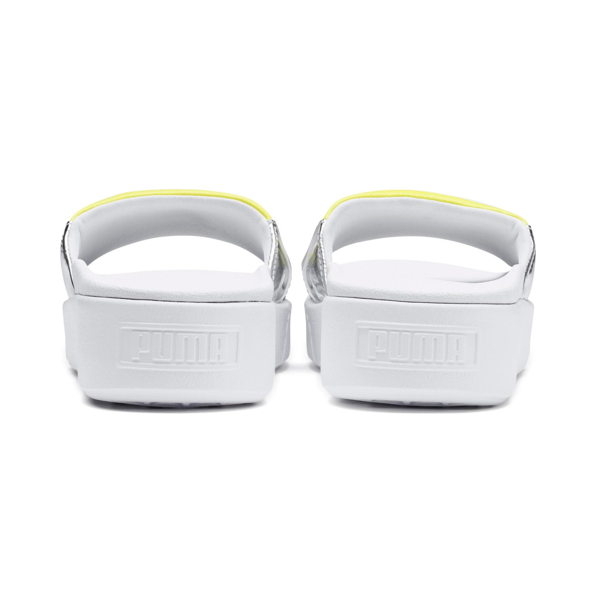 Thumbnail 3 of Platform Slide Trailblazer Metallic Women's Sandals, Puma White-Puma Silver, medium